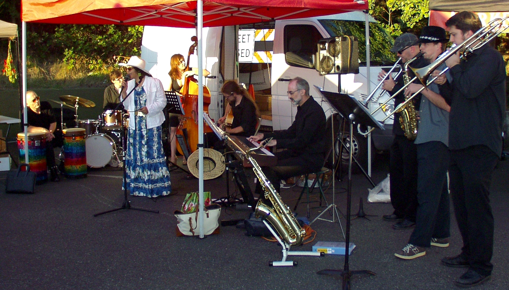 The Wallingford Big Band Orchestra performing at the Madrona Farmers Market last Friday. Photo copyright 2009 by Zachary D. Lyons.