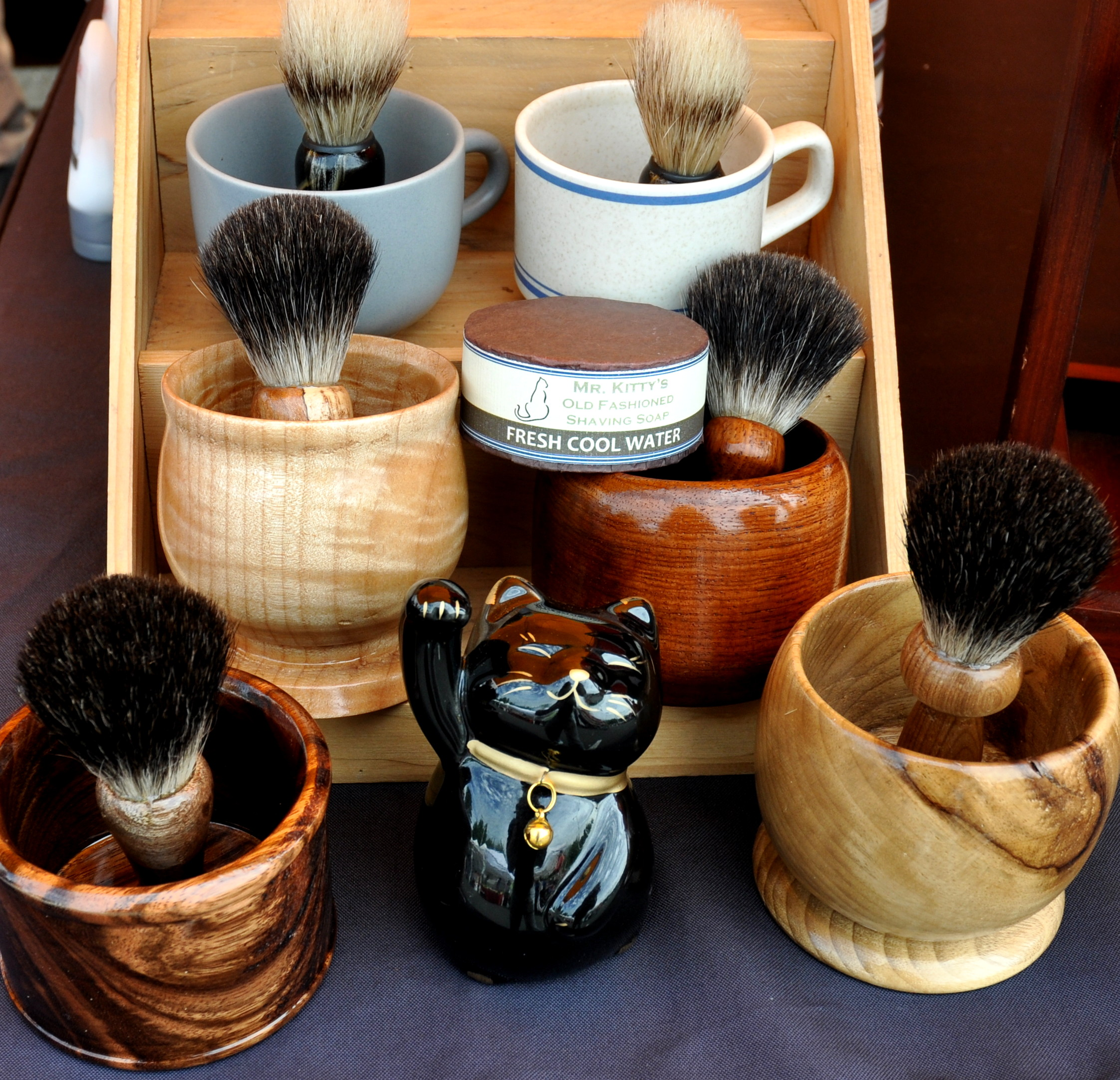 Shaving soap, mugs and brushes from Mr. Kitty's Soap Shop. Photo copyright 2012 by Zachary D. Lyons.