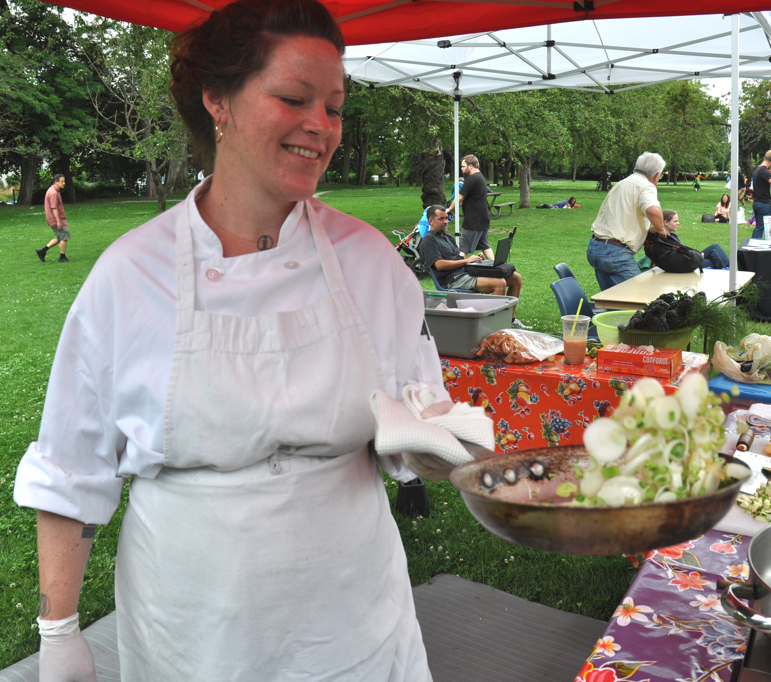 Chef Heather Immoor of Phinney Market at last year's cooking demonstration. Photo copyright 2013 by Zachary D. Lyons.