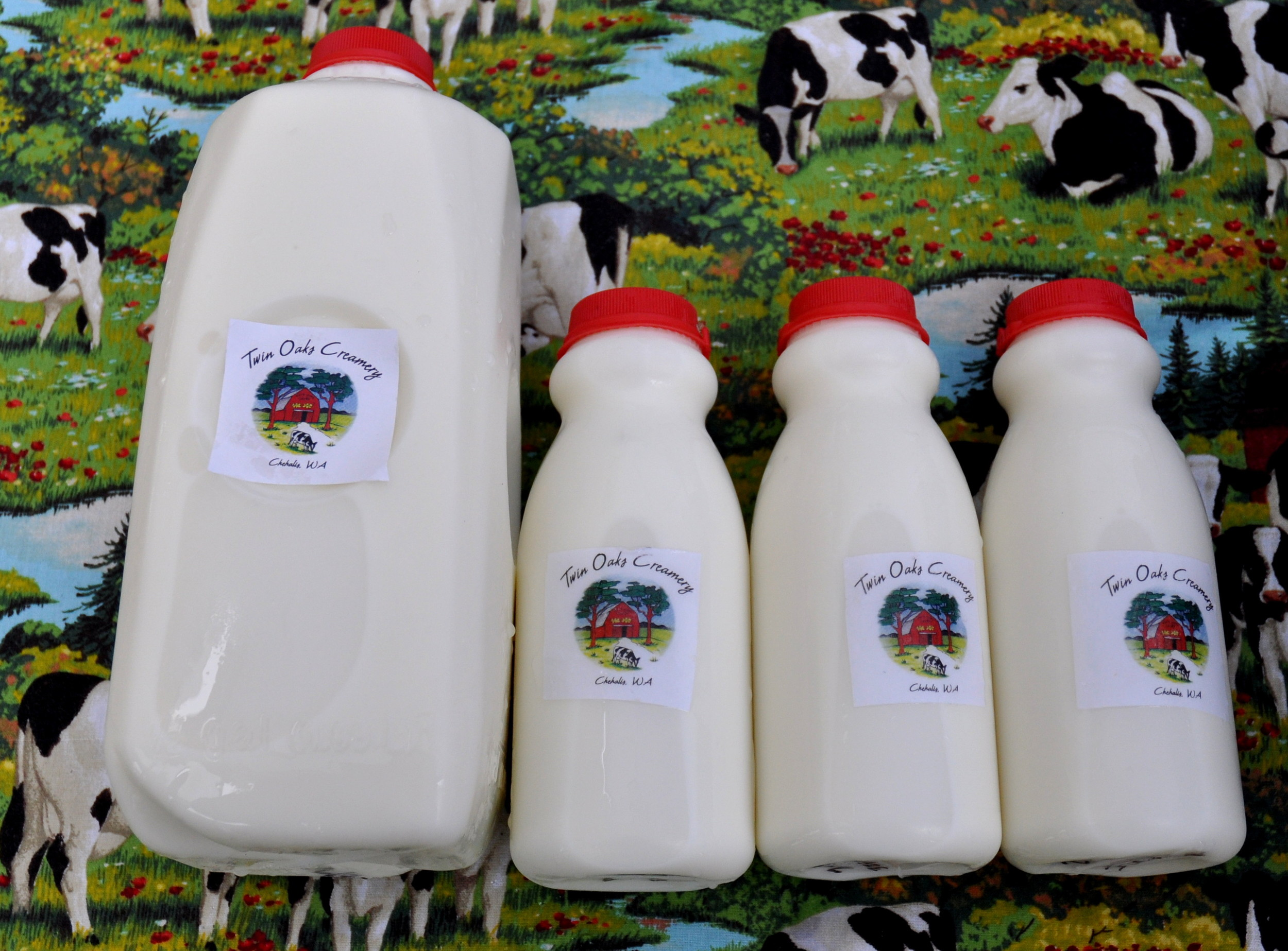 Farm-fresh bottled cow and goat milk from Twin Oaks Creamery. Photo copyright 2013 by Zachary D. Lyons.