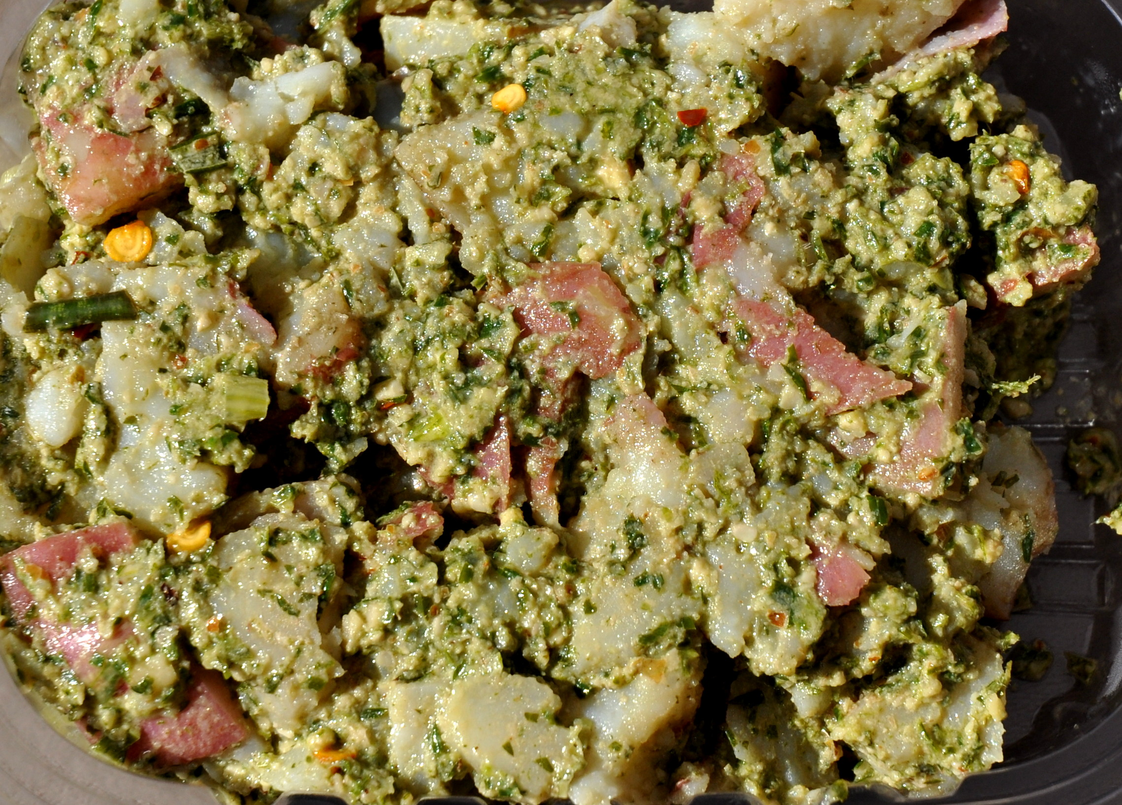 Carrots greens pesto potato salad from Knife For Hire Picnic Foods. Photo copyright 2013 by Zachary D. Lyons.