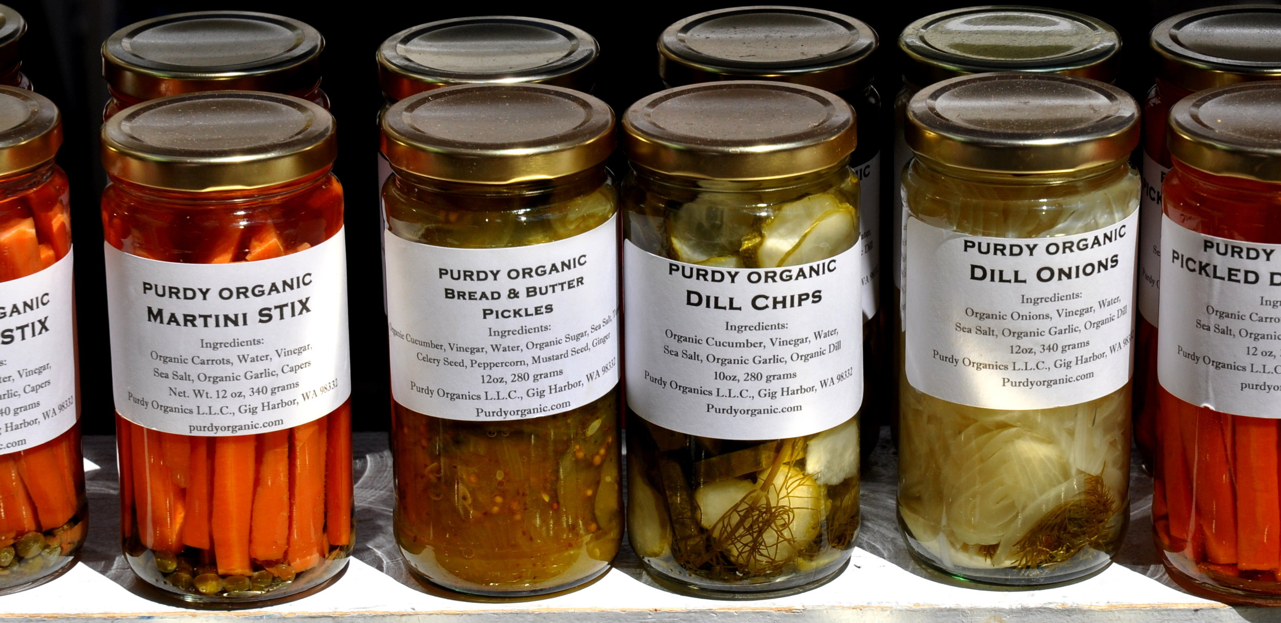 Assorted pickles from Purdy Pickle. Photo copyright 2013 by Zachary D. Lyons.