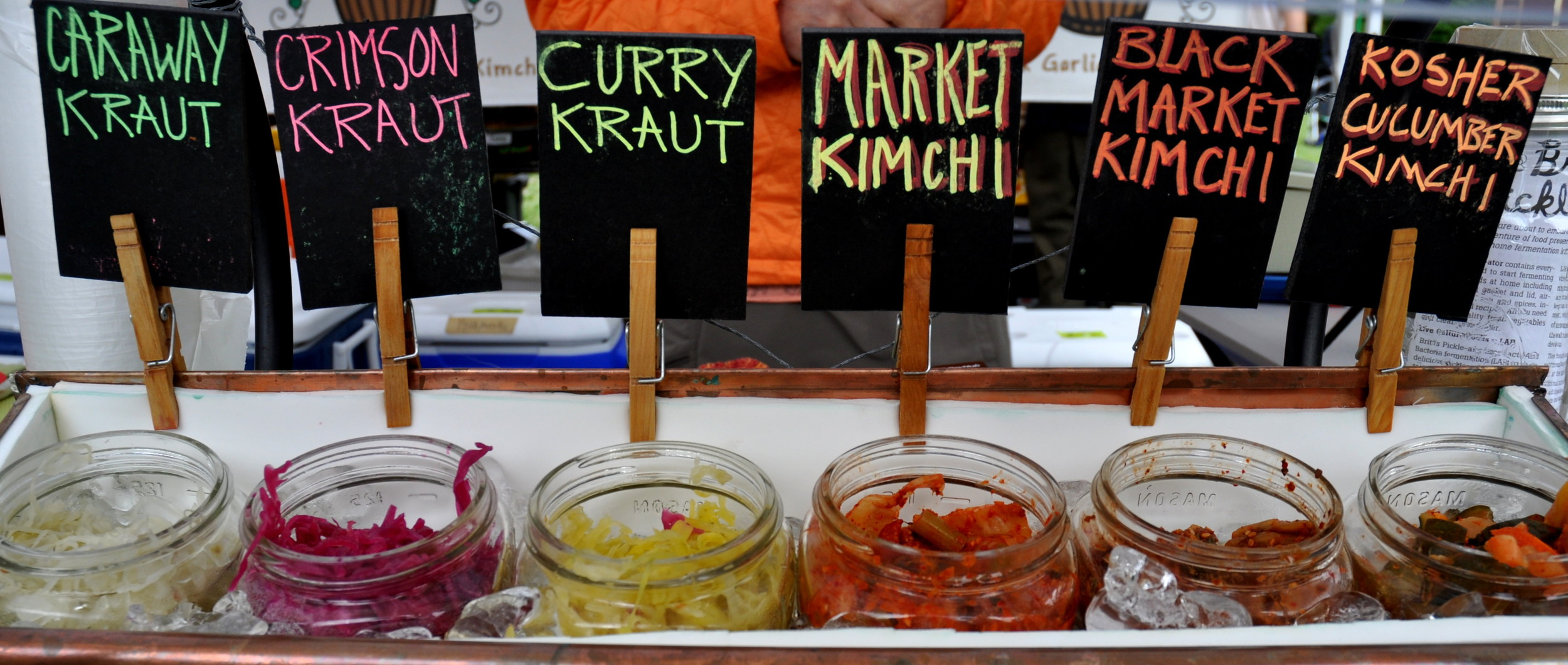 Krauts and Kimchis from Britt's Pickles.. Photo copyright 2014 by Zachary D. Lyons.