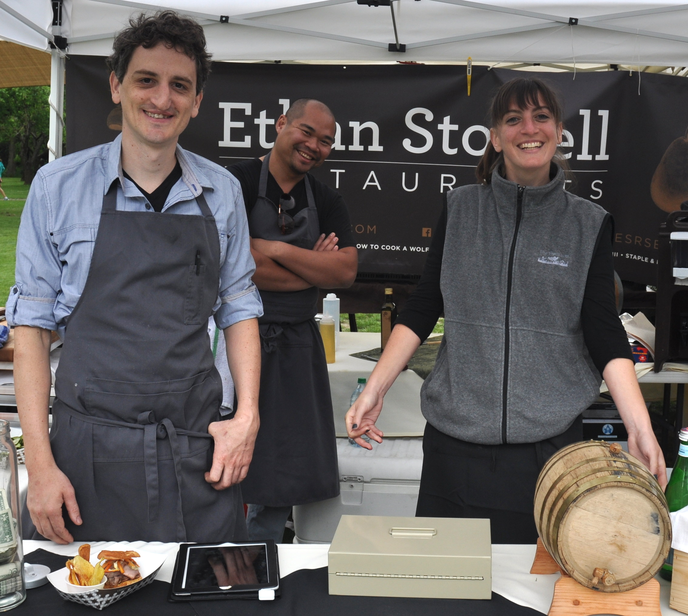 Chef Joe Ritchie and the crew from MKT, Ethan Stowell's new restaurant in Tangletown at Wallingford Farmers Market. Copyright Zachary D. Lyons.