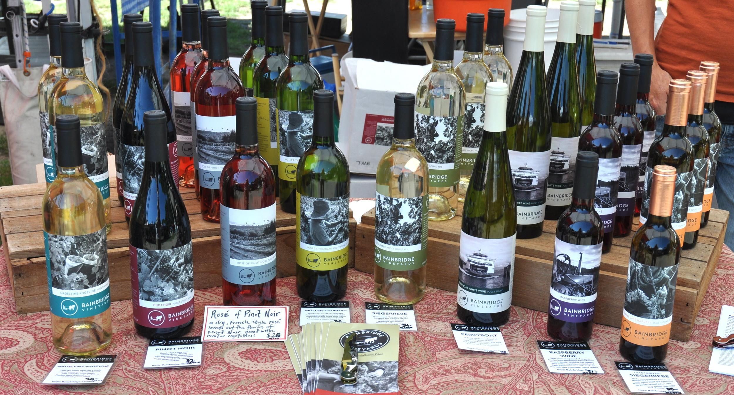 The wines of Bainbridge Island Vineyards. Photo copyright 2014 by Zachary D. Lyons.