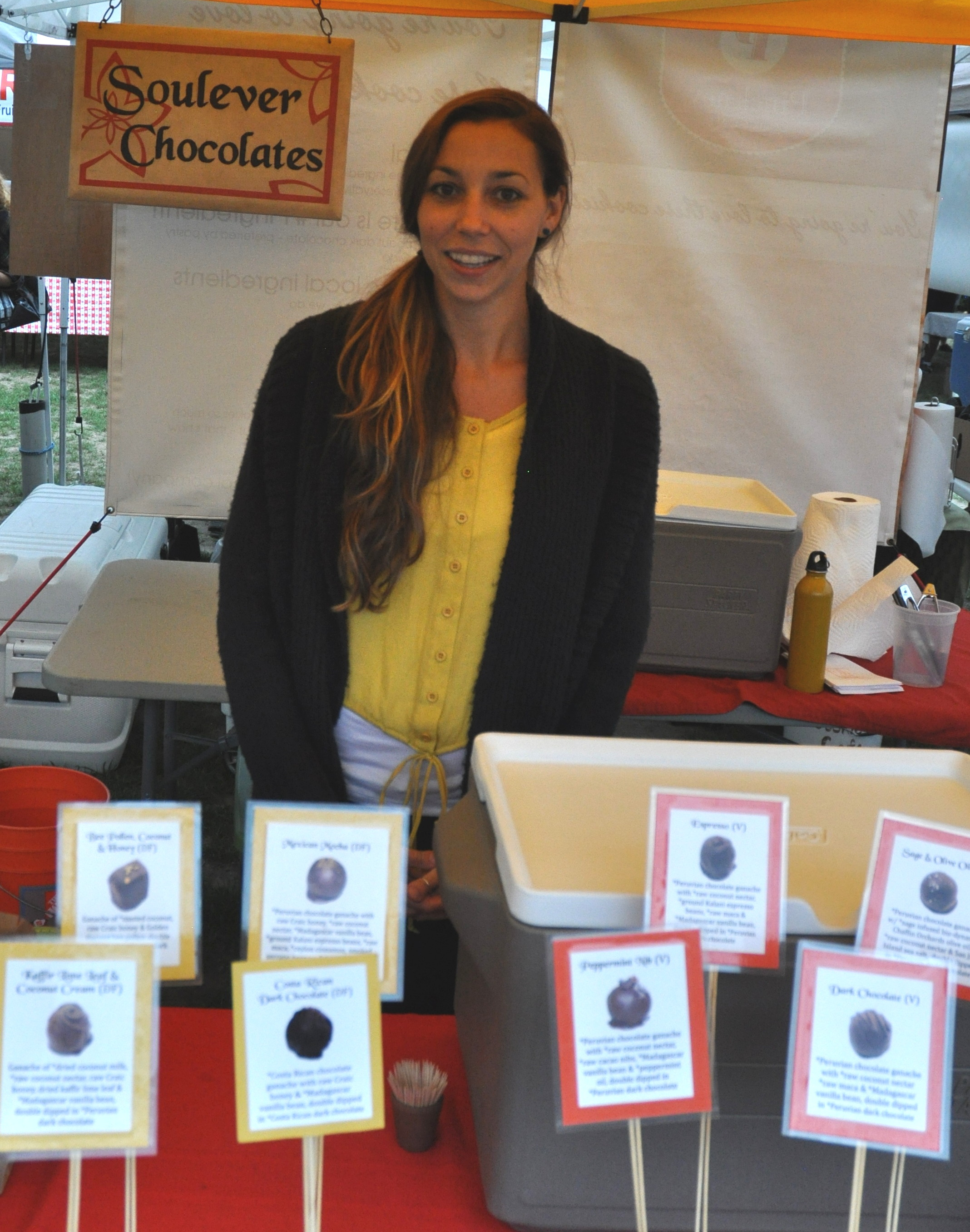 Aimee from Soulever Chocolates at Wallingford Farmers Market. Copyright Zachary D. Lyons.