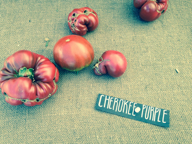 Heirloom tomatoes from One Leaf Farm