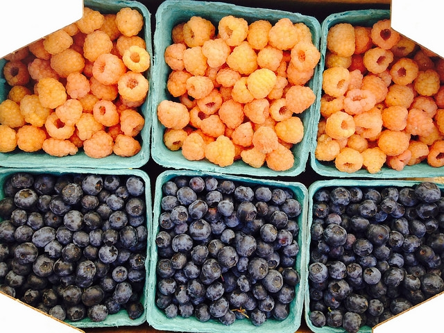 Golden raspberries + Blueberries from Gaia's Harmony Farm