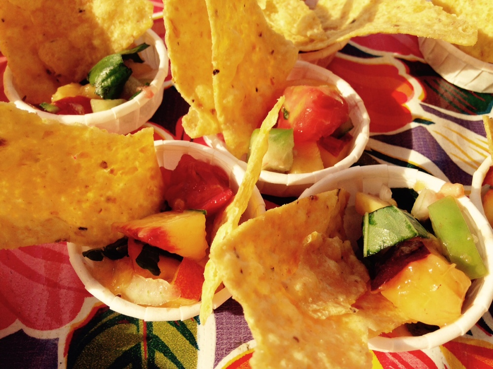 Rustic peach salsa (and chips, of course) from our recent Farm Stand demo.