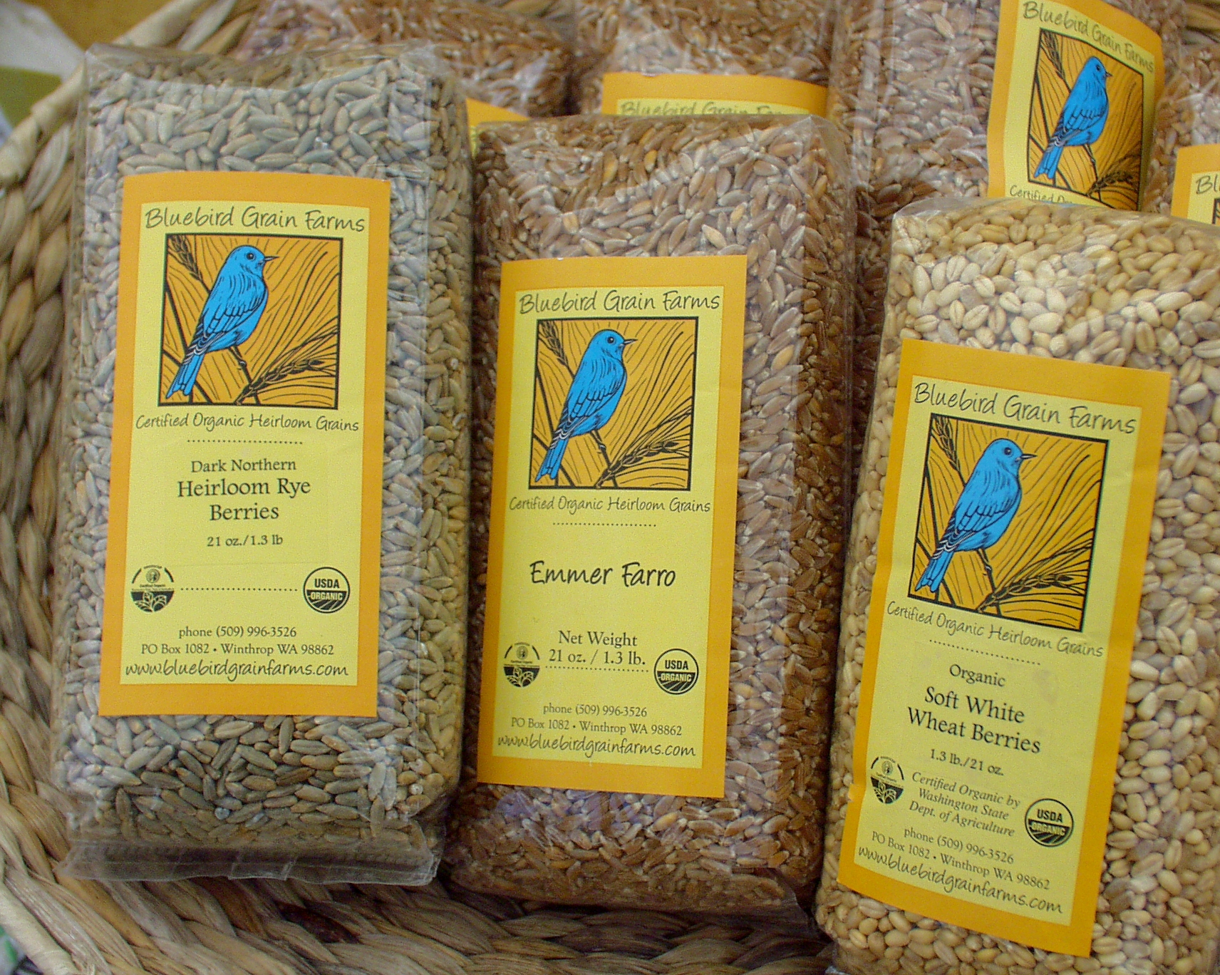 Whole grain emmer, rye and wheat from Bluebird Grain Farms. Photo copyright 2009 by Zachary D. Lyons.