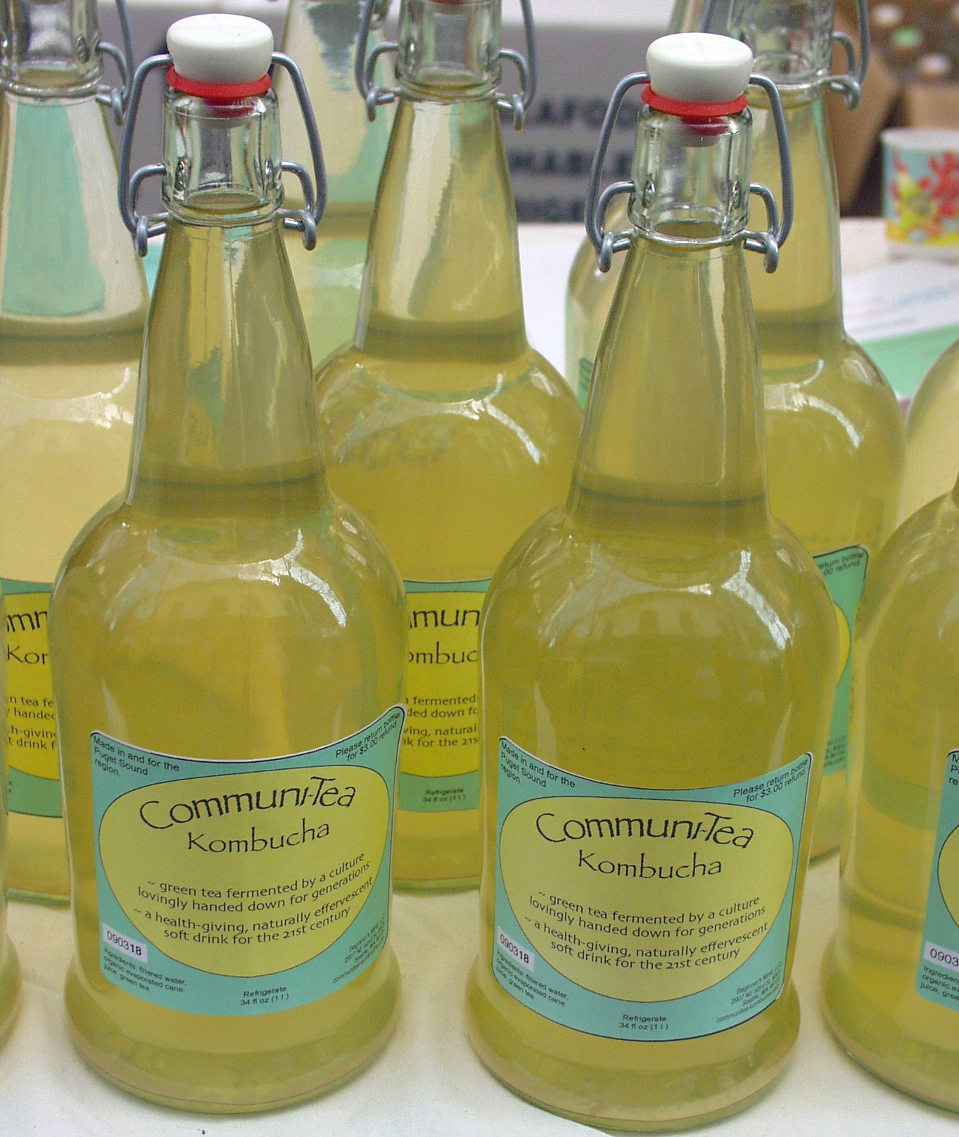 Communi-Tea Kombucha is sold in earth-friendly reusable bottles. Photo copyright 2009 by Zachary D. Lyons.