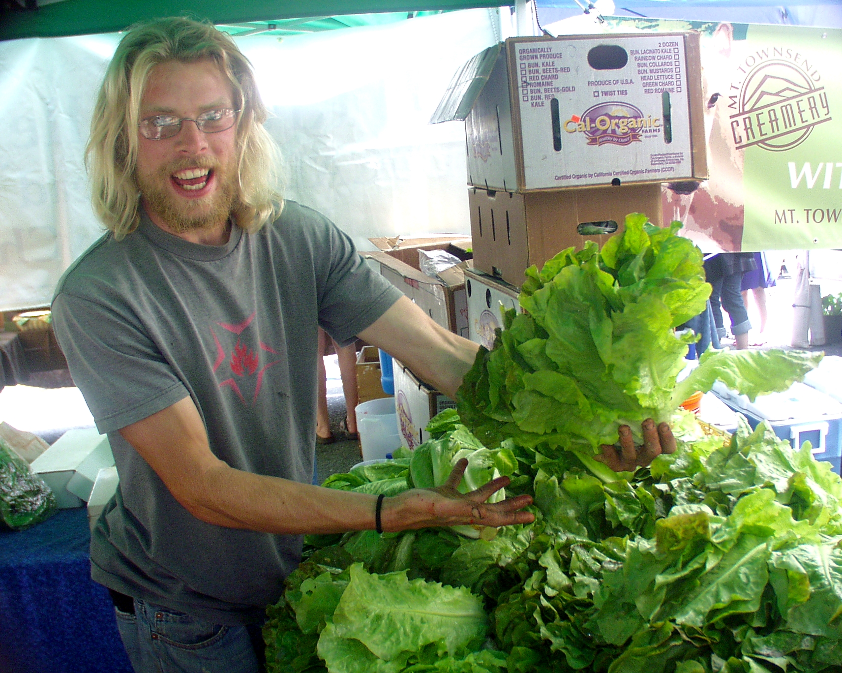 "Colinwood Farm, from Port Townsend, gets the ""Big Head of Lettuce"" photo of the week. Photo copyright 2009 by Zachary D. Lyons."