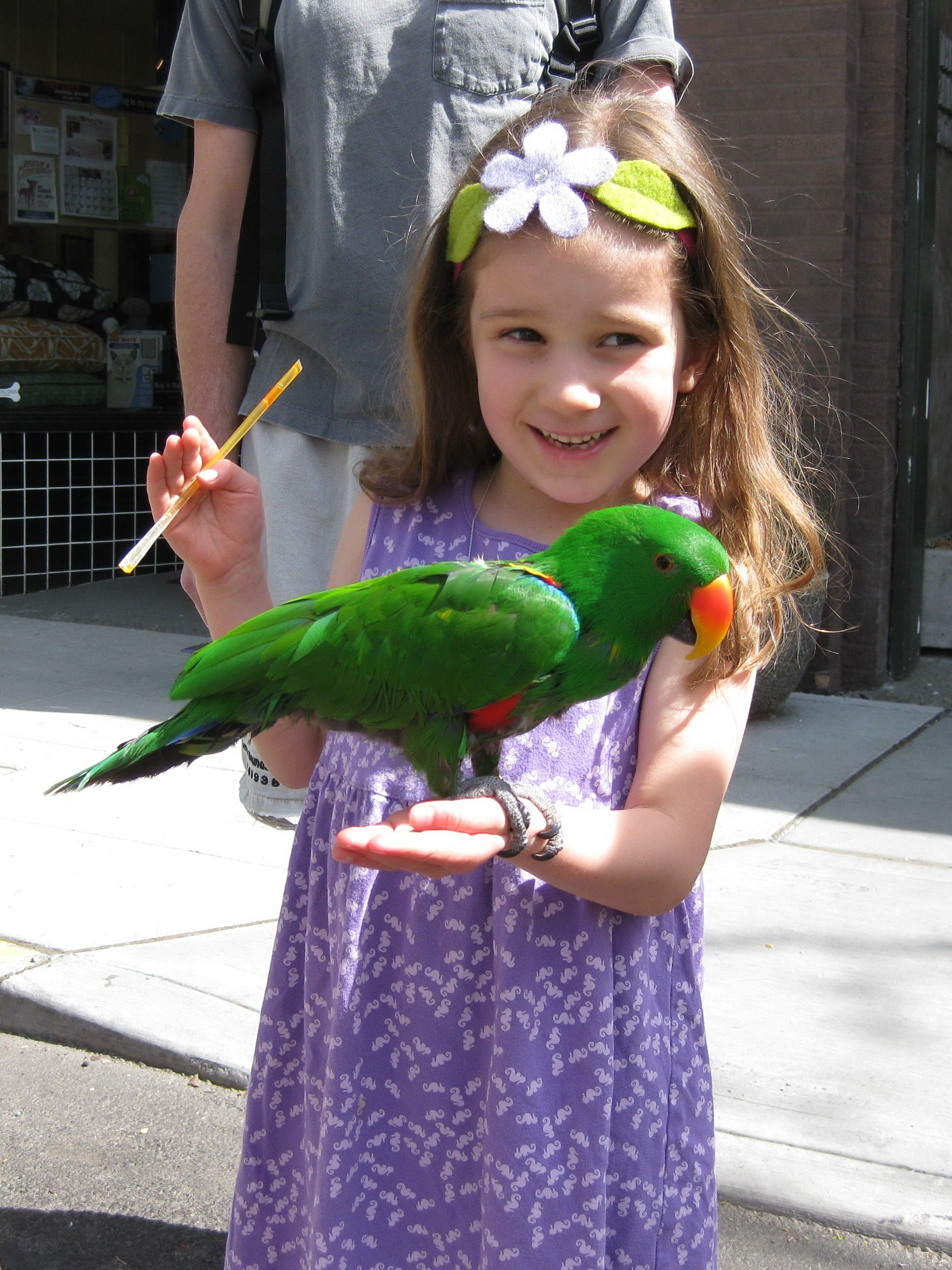 Hadley Mollman, a kindergardener at West Woodland Elementary, apparently found this bird at the Market. Photo sent in by dad, John Mollman, but taken by mom, Kimberly Andrews, on May 17th.