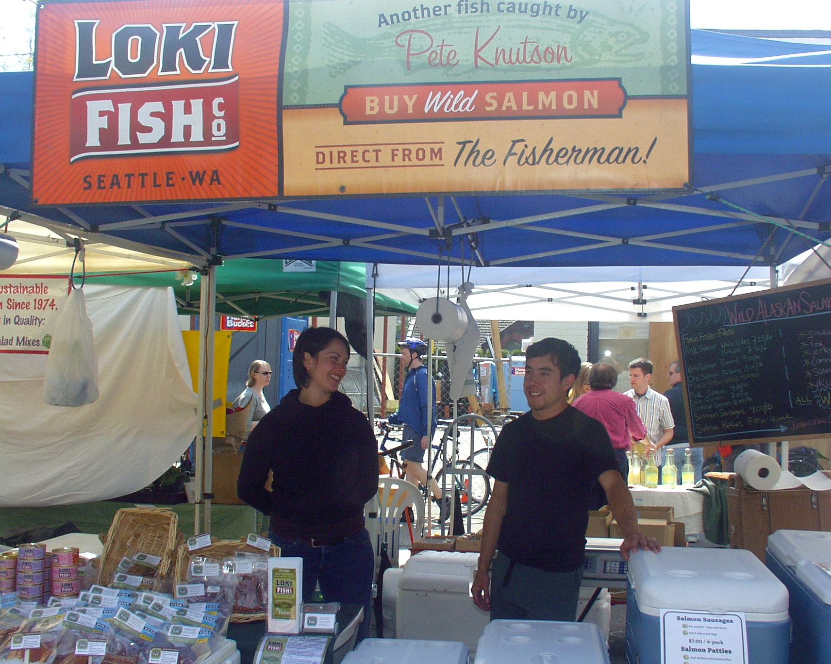 Loki Fish, which makes its home at Ballard's Fishermen's Terminal, has fresh salmon from their boats in Alaskan at the Market now. Photo copyright 2009 by Zachary D. Lyons.