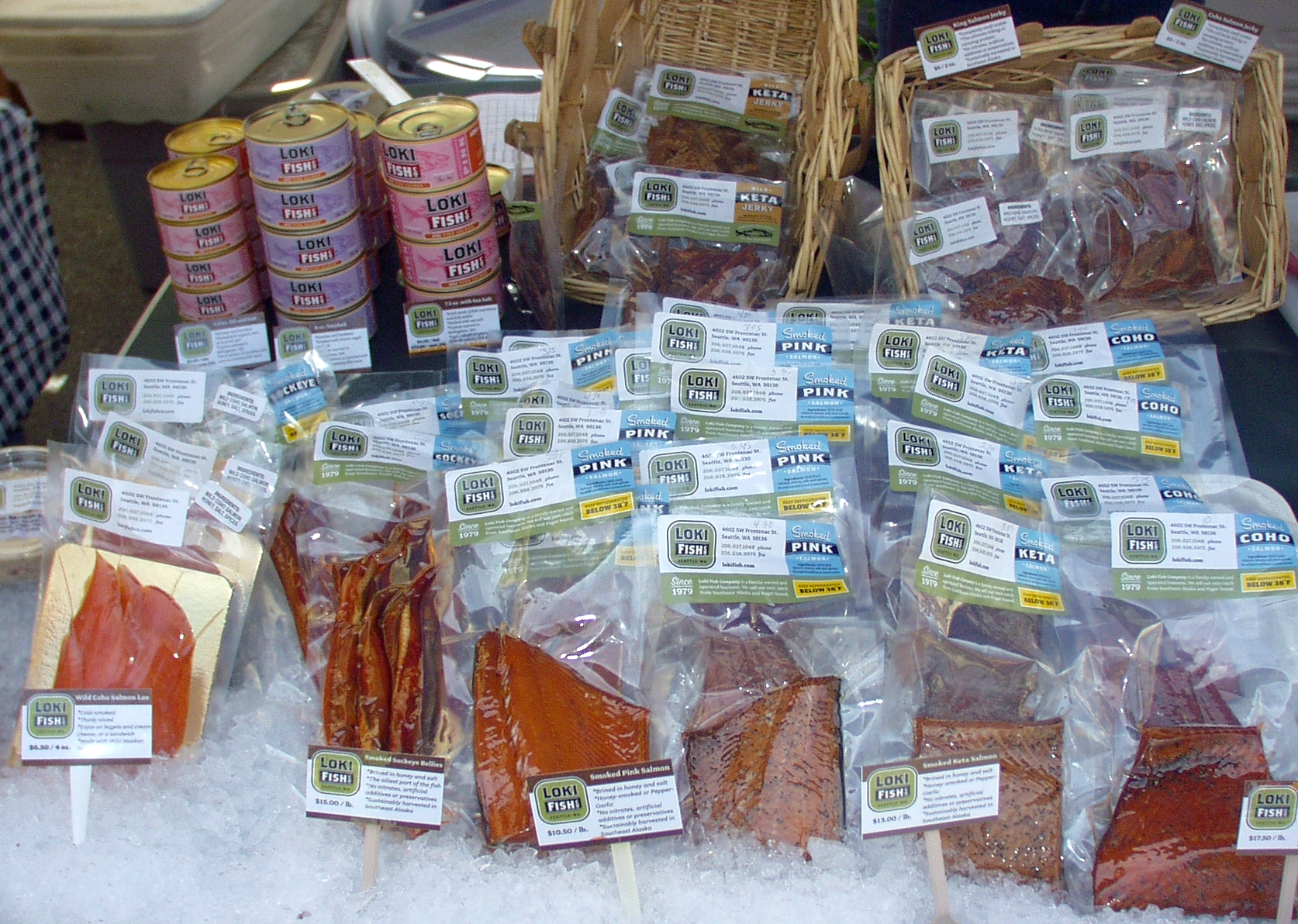Loki Fish offers a wide variety of wild salmon products. Photo copyright 2009 by Zachary D. Lyons.