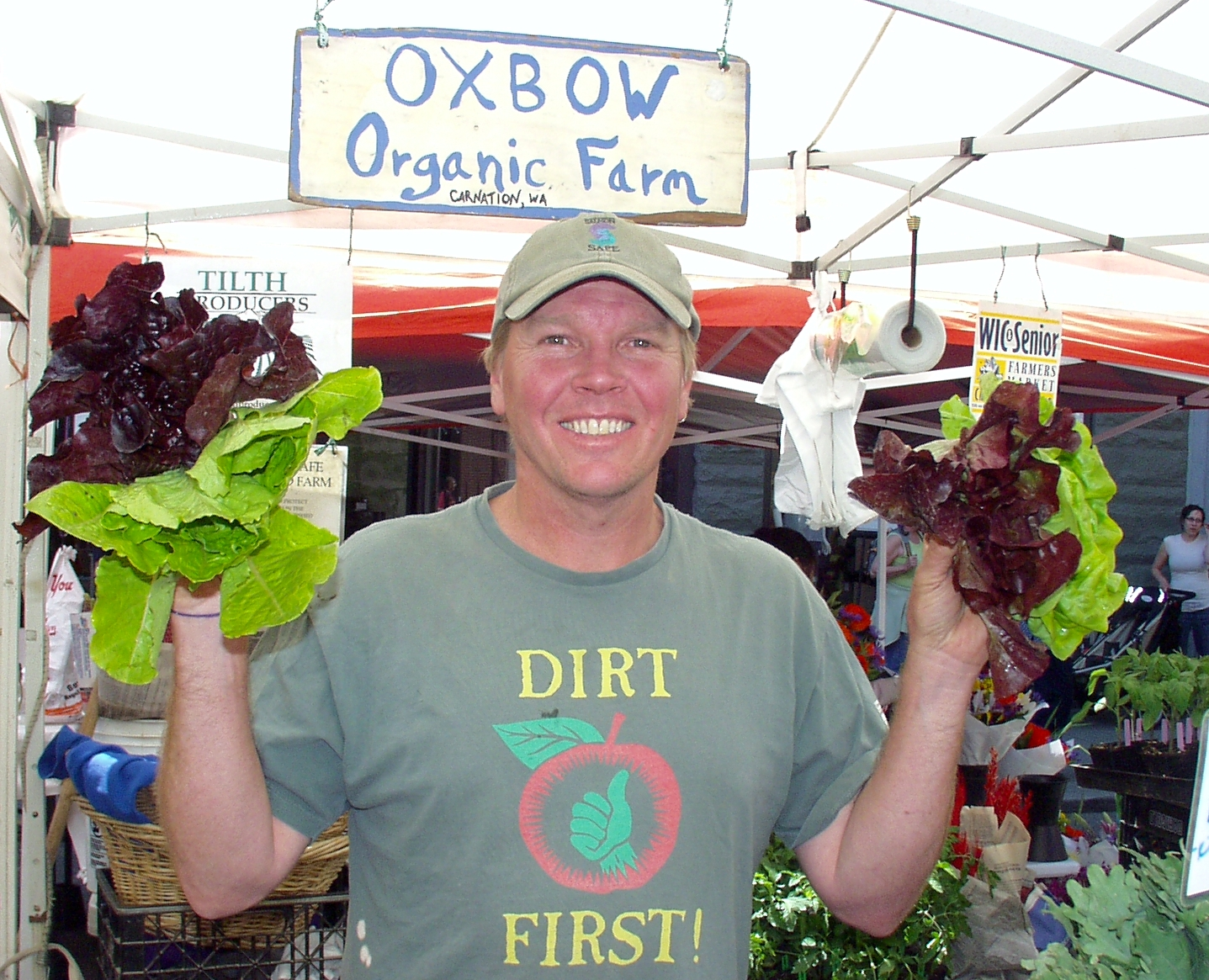 Not huge, but beautiful and delicious, check out this lettuce from Oxbow Farm. Photo copyright 2009 by Zachary D. Lyons.