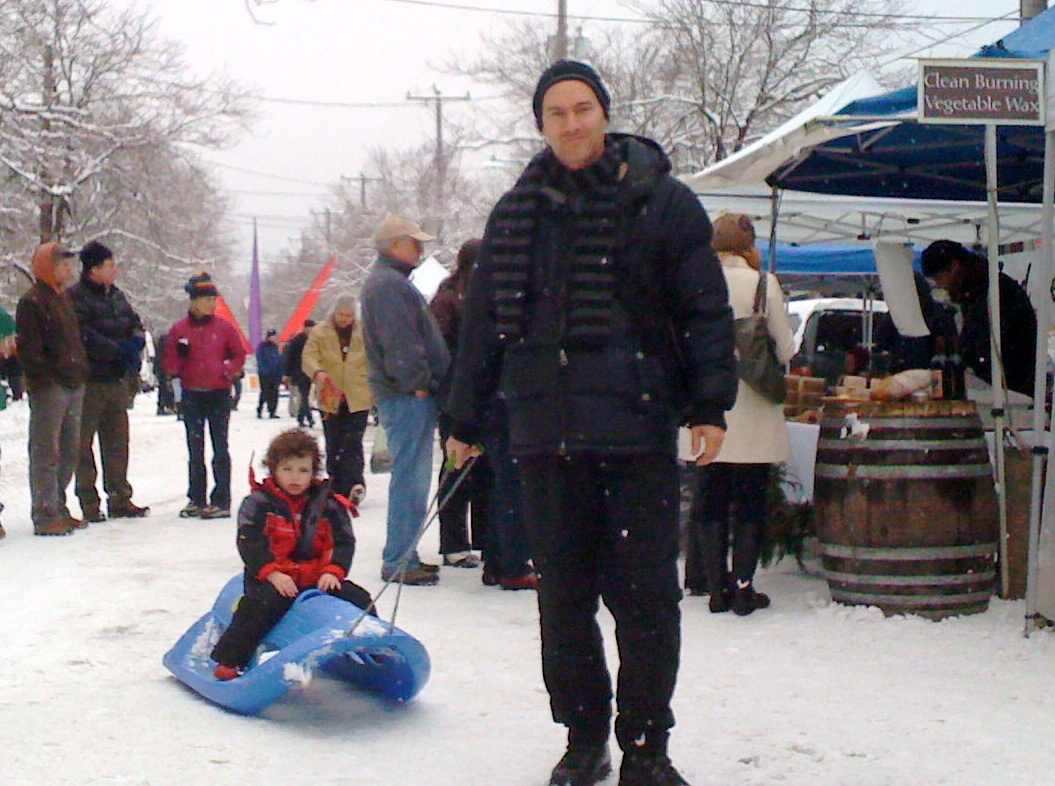 Market shoppers came by whatever means they could, including toboggan. Photo copyright 2008 by Jon Hegeman.