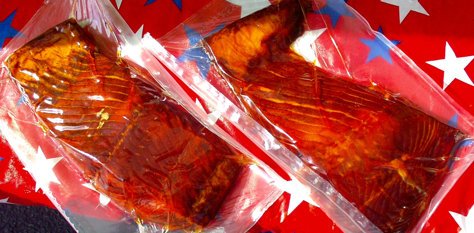 Fresh smoked king salmon from Wilson Fish. Photo copyright 2009 by Zachary D. Lyons.
