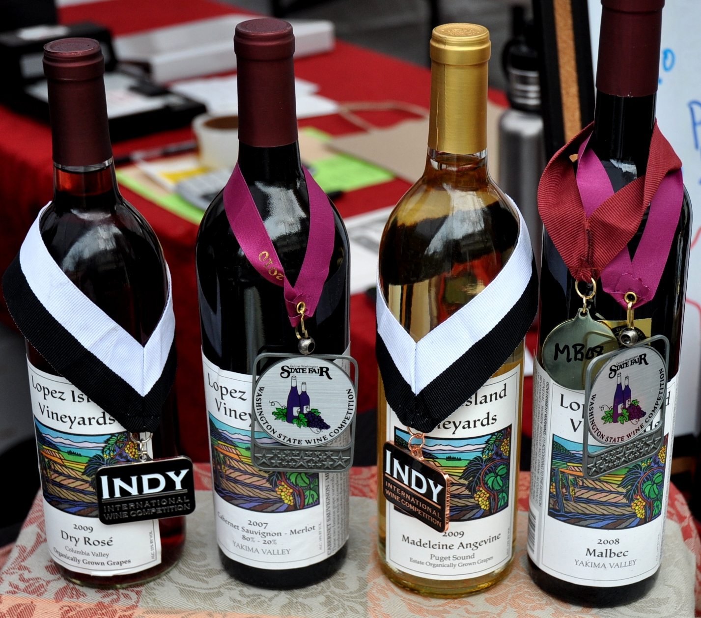 Award winning wines from Lopez Island Vineyards. Photo copyright 2010 by Zachary D. Lyons.