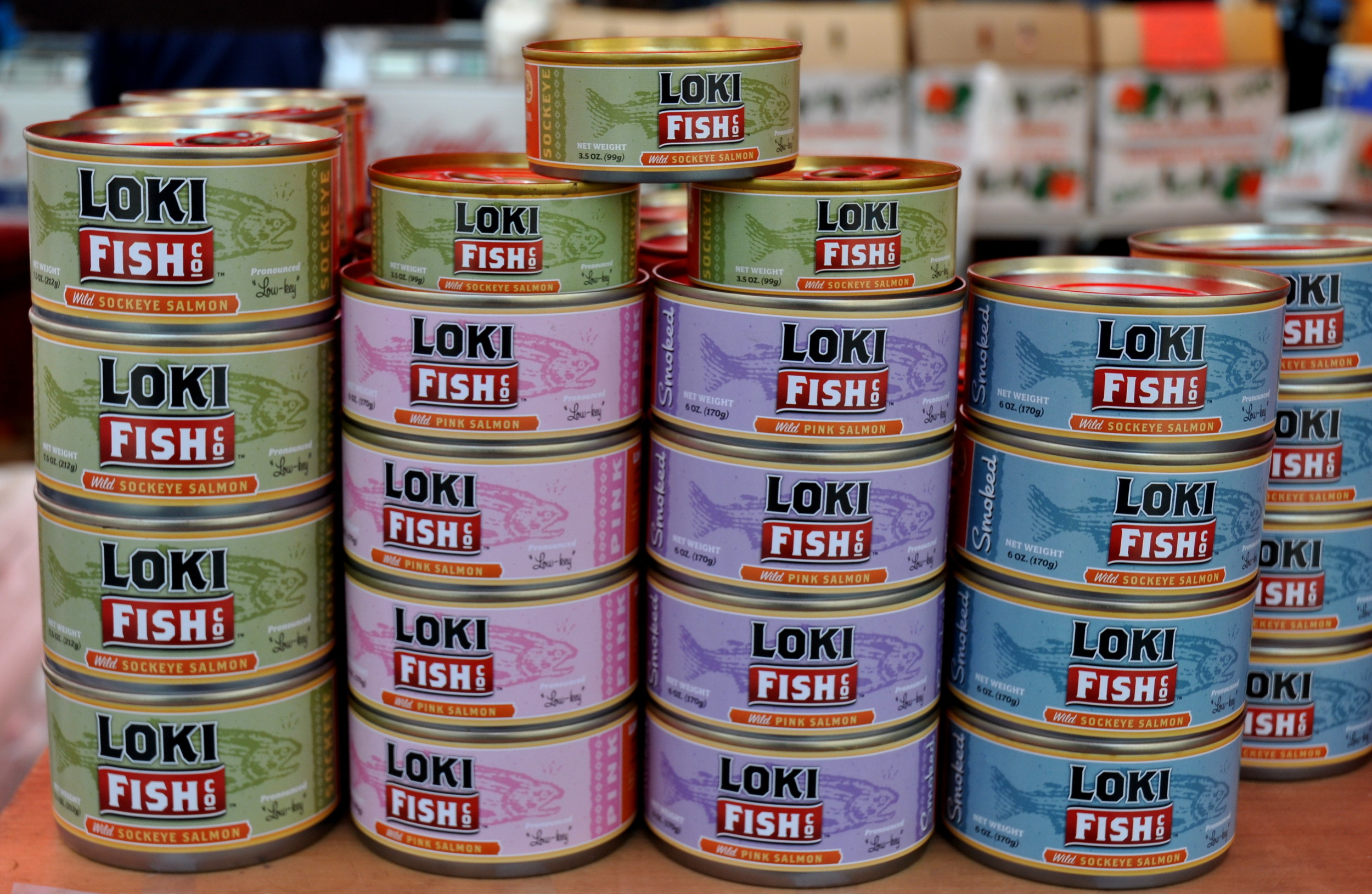 Canned salmon from Loki Fish. Photo copyright 2011 by Zachary D. Lyons.
