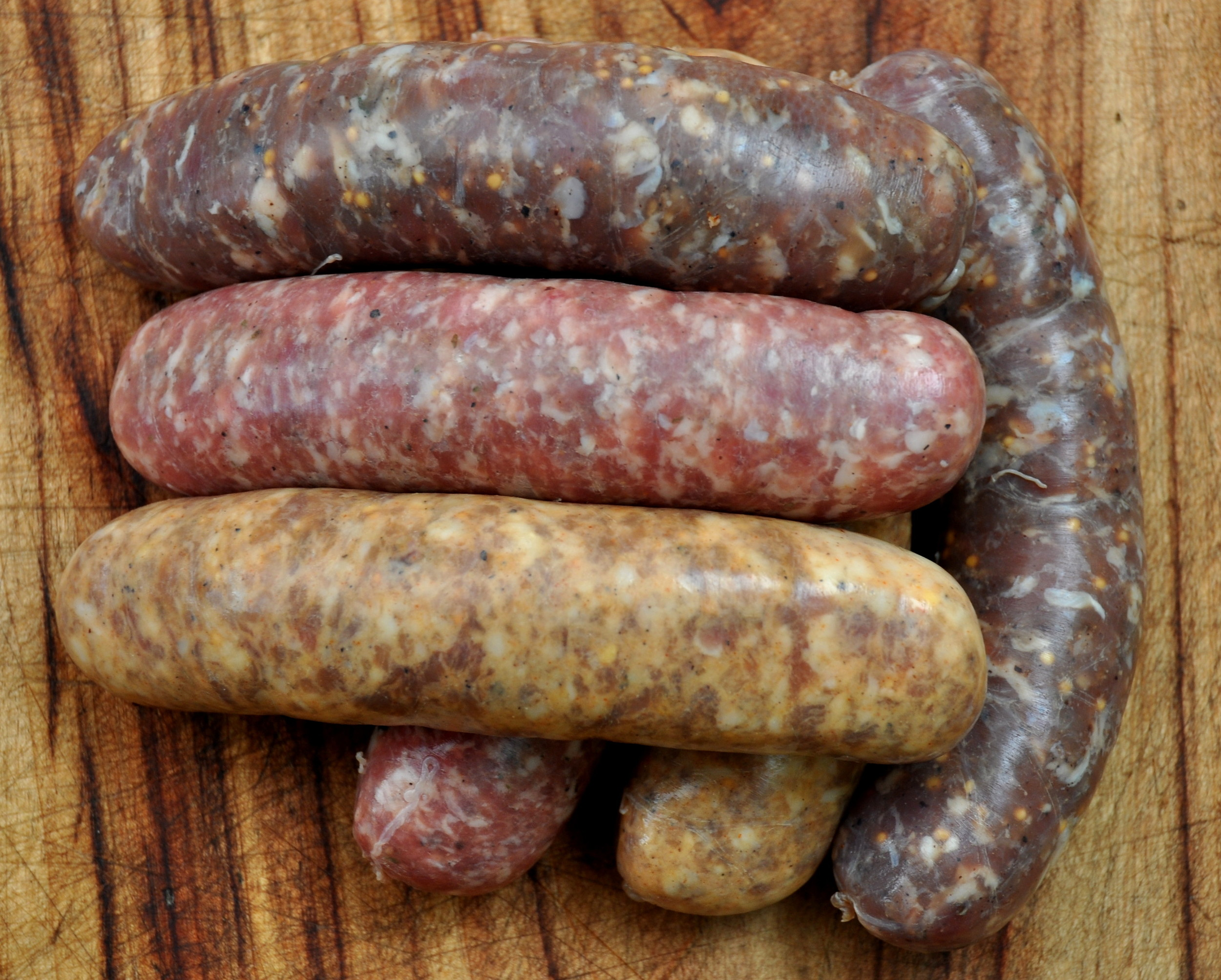 Fresh sausages from Sea Breeze Farmat Ballard Farmers Market. Copyright Zachary D. Lyons.