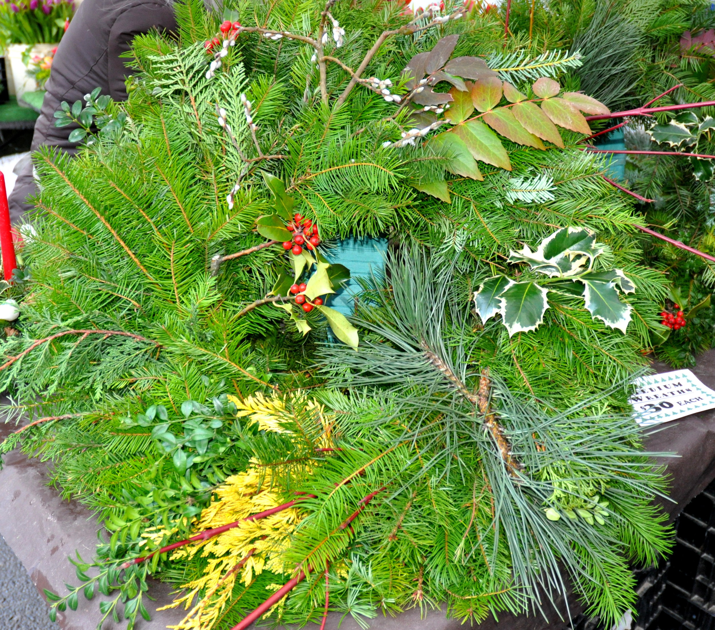 Fresh holiday wreathes from Alm Hill Gardens. Photo copyright 2011 by Zachary D. Lyons.