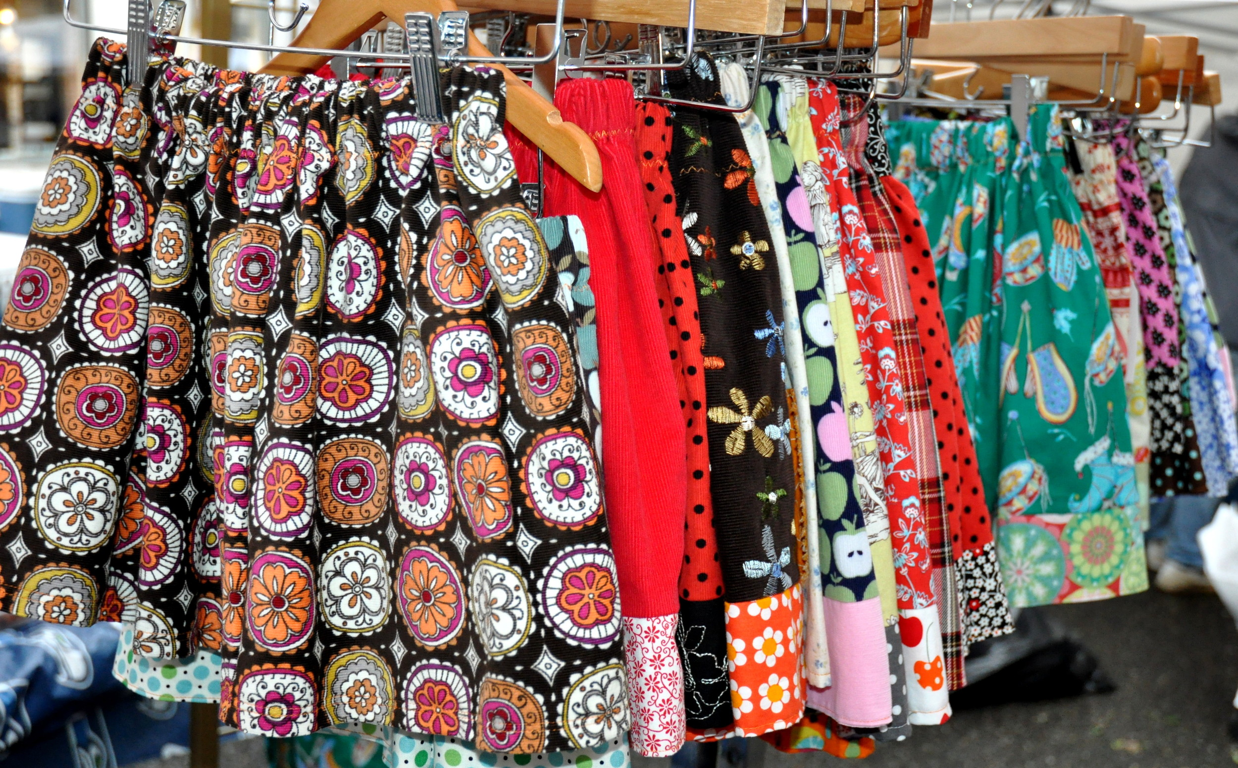 Colorful skirts from Marmalade Originals at Ballard Farmers Market. Copyright Zachary D. Lyons.