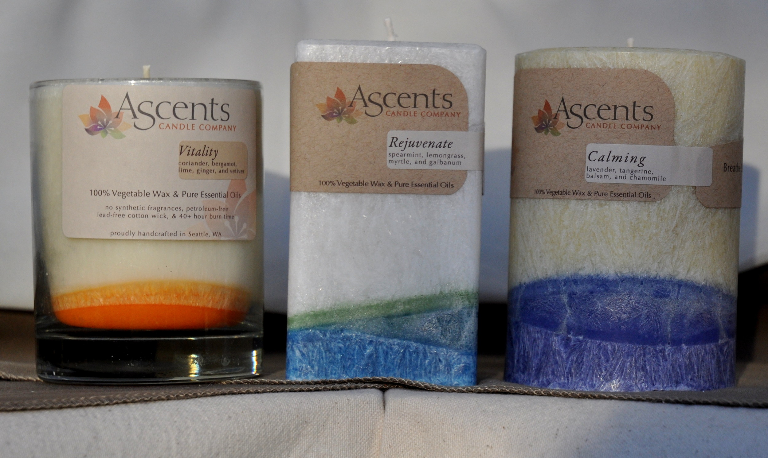 Beautiful, non-toxic candles from Ascents Candles. Photo copyright 2012 by Zachary D. Lyons.