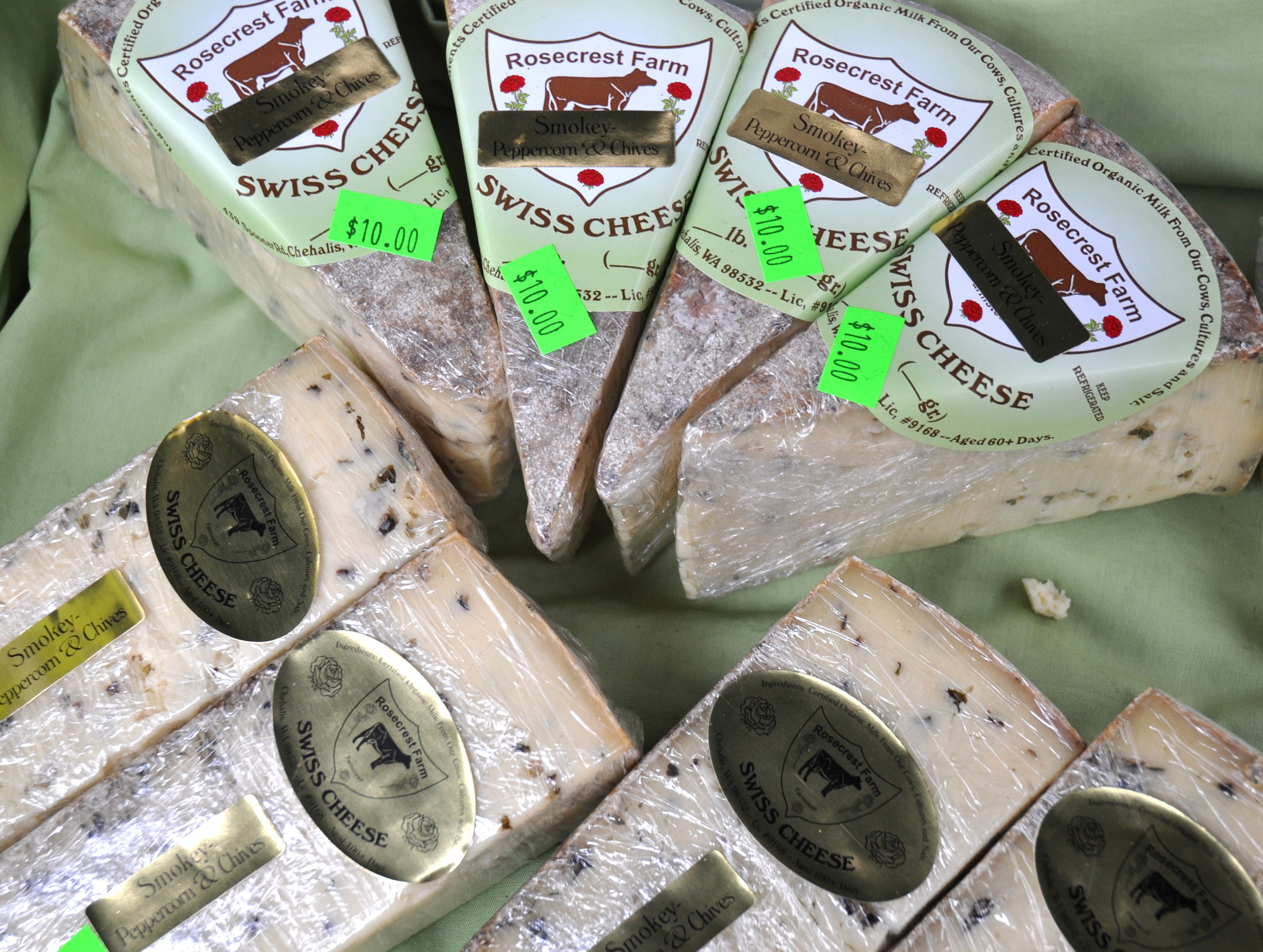 Smoky peppercorn & chives Swiss cheese from Rosecrest Farm. Photo copyright 2013 by Zachary D. Lyons.