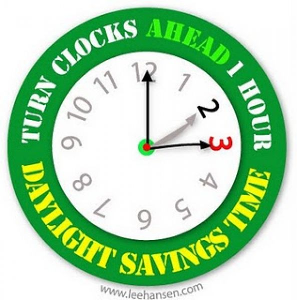Set your clocks forward an hour for Daylight Savings Time tonight! Image courtesy LeeHansen.com.