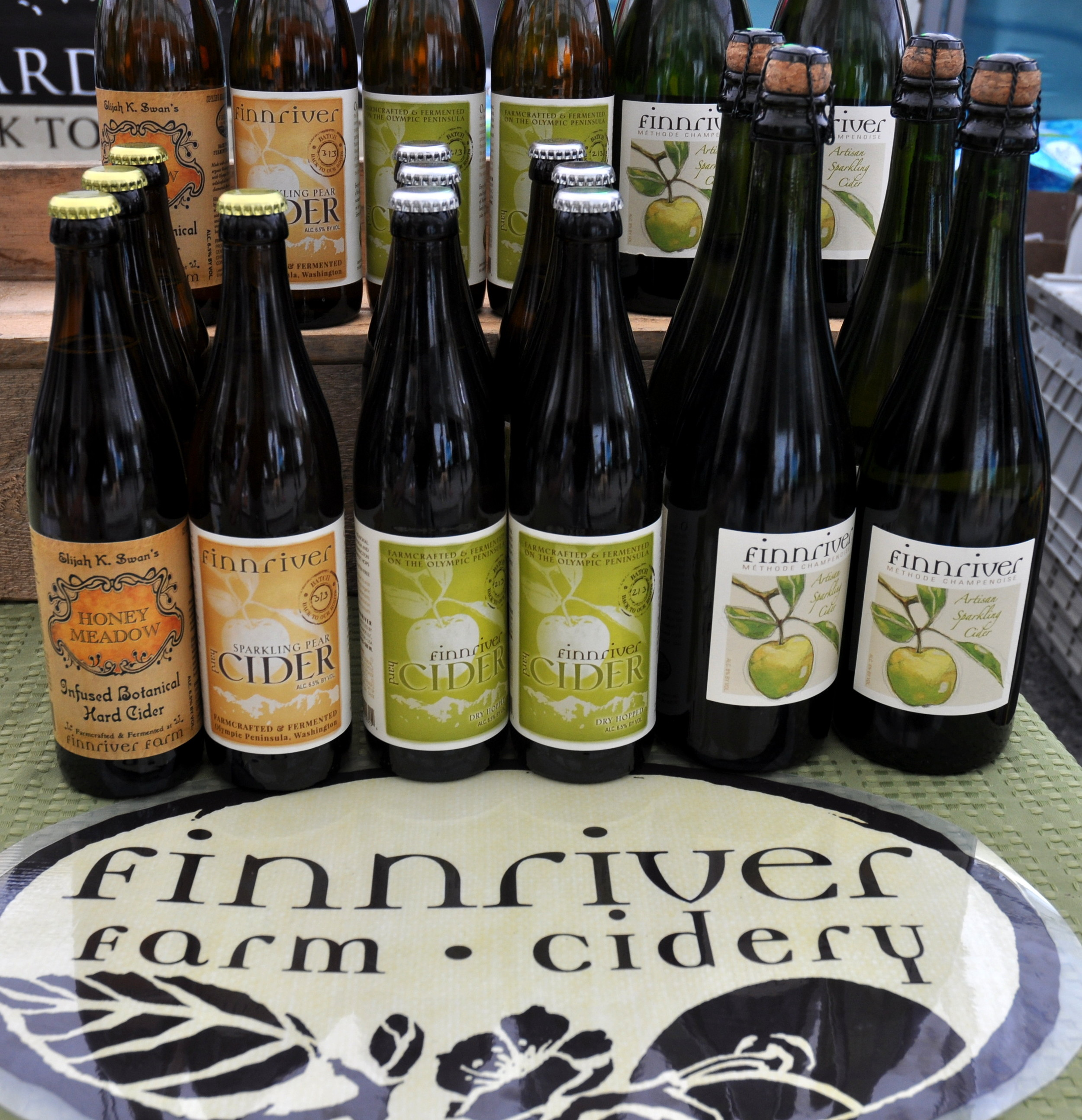 Some of the hard cider lineup at Finnriver Farm & Cidery. Photo copyright 2013 by Zachary D. Lyons.