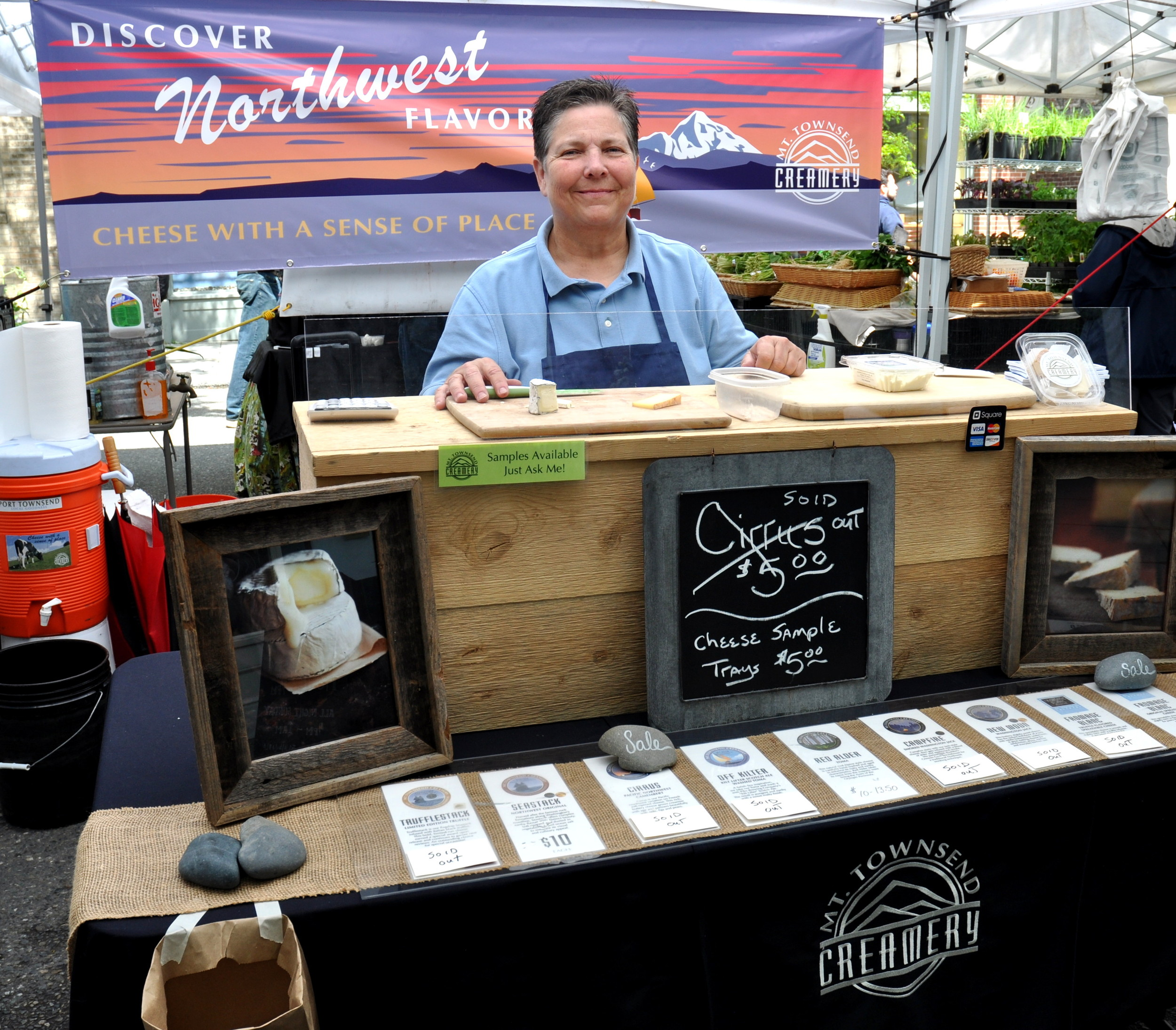 Brenda and the Mt Townsend Creamery display. Photo copyright 2013 by Zachary D. Lyons.