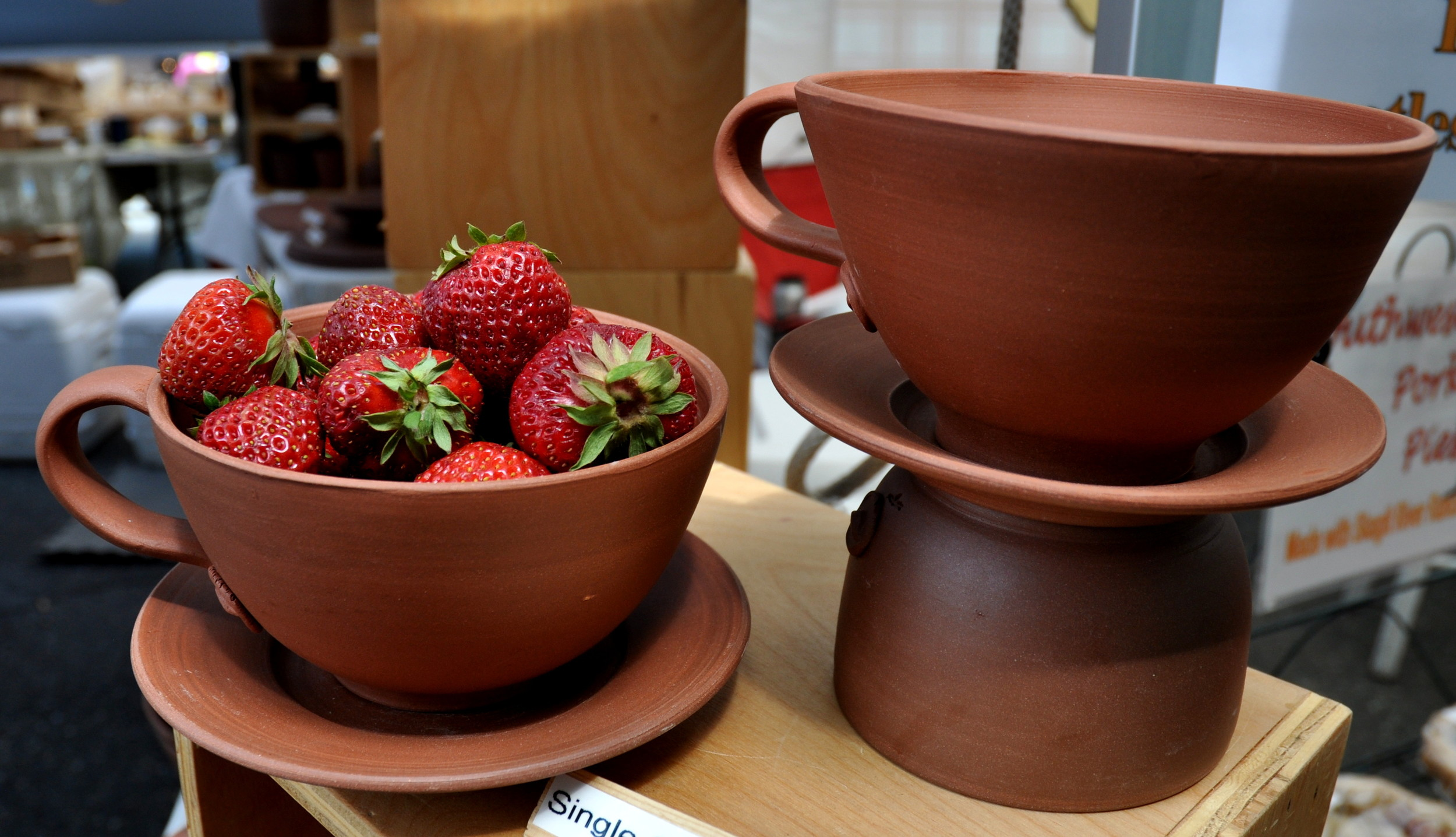 Single serving colanders from Daily Bird Pottery. Photo copyright 2013 by Zachary D. Lyons.