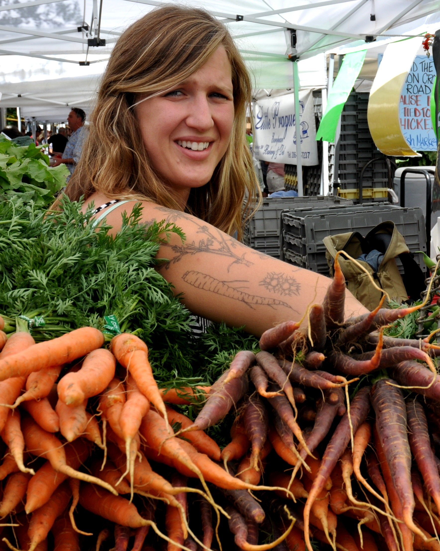 Oxbow Farm and Oxbow's Alice sporting carrots. Photo copyright 2013 by Zachary D. Lyons.