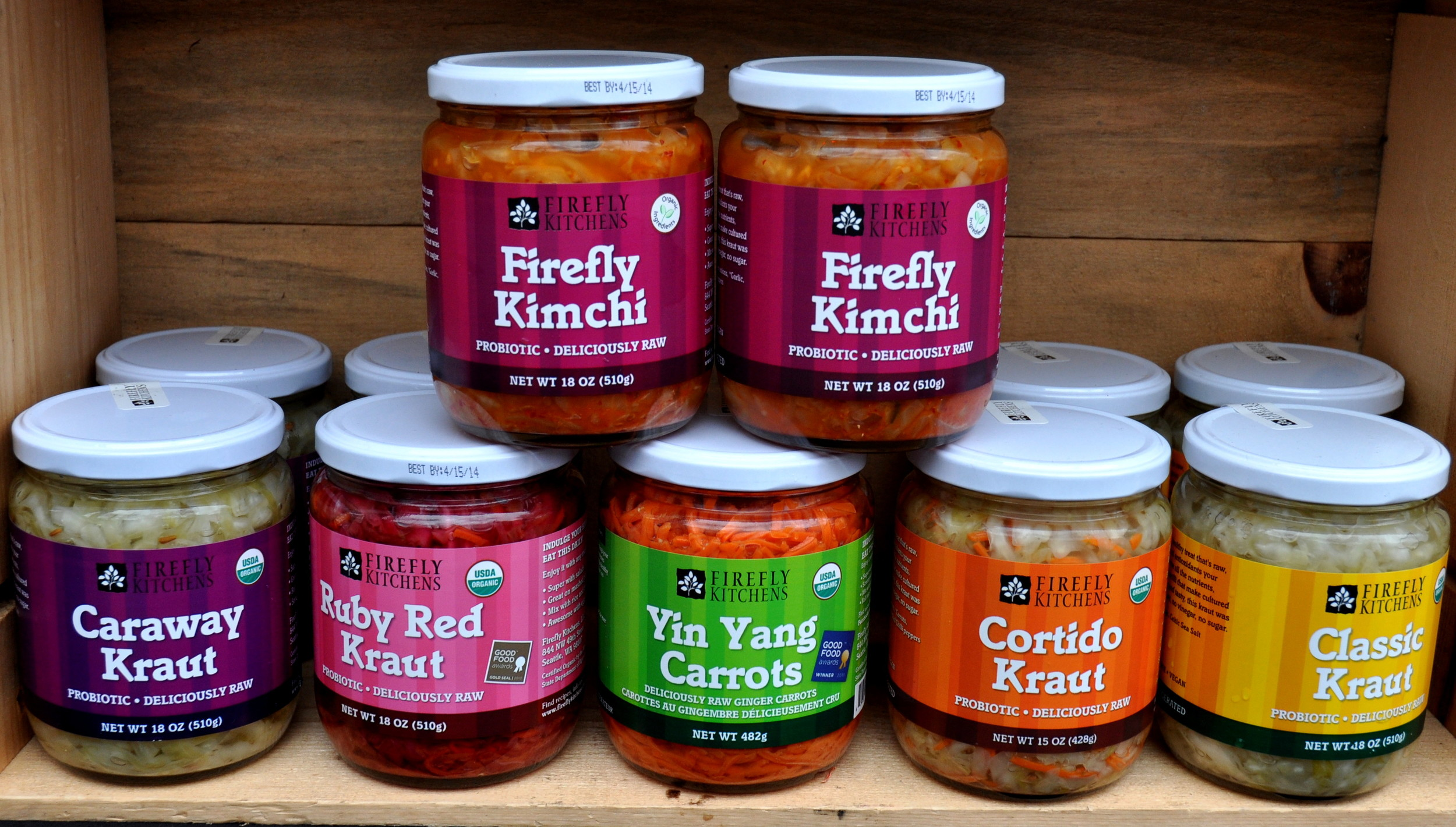 Kimchi, Krauts & more from Firefly Kitchens at Ballard Farmers Market. Copyright Zachary D. Lyons.