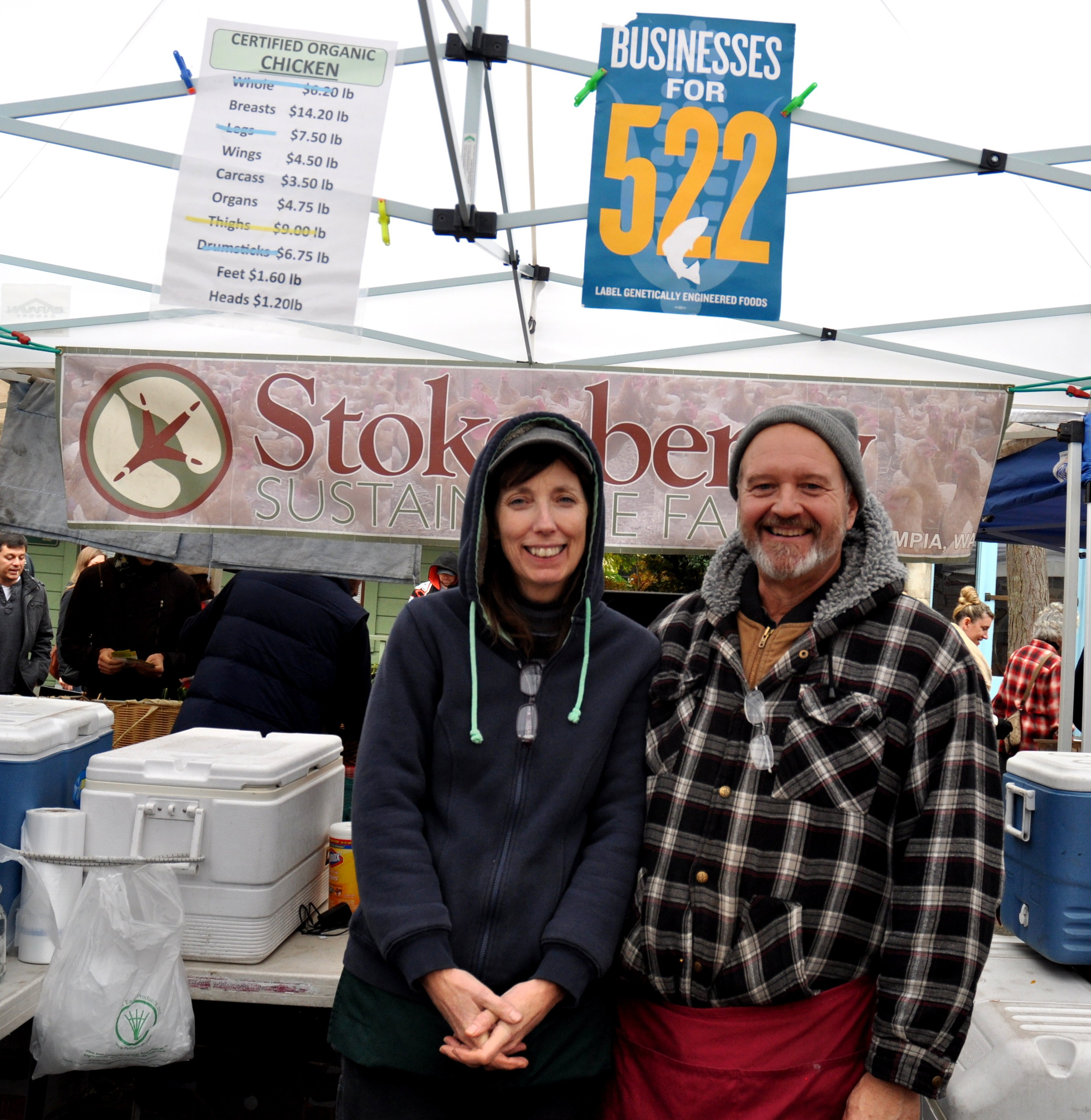 Janelle & Jerry Stokesberry of Stokesberry Sustainable Farm support I-522. Photo copyright 2013 by Zachary D. Lyons.