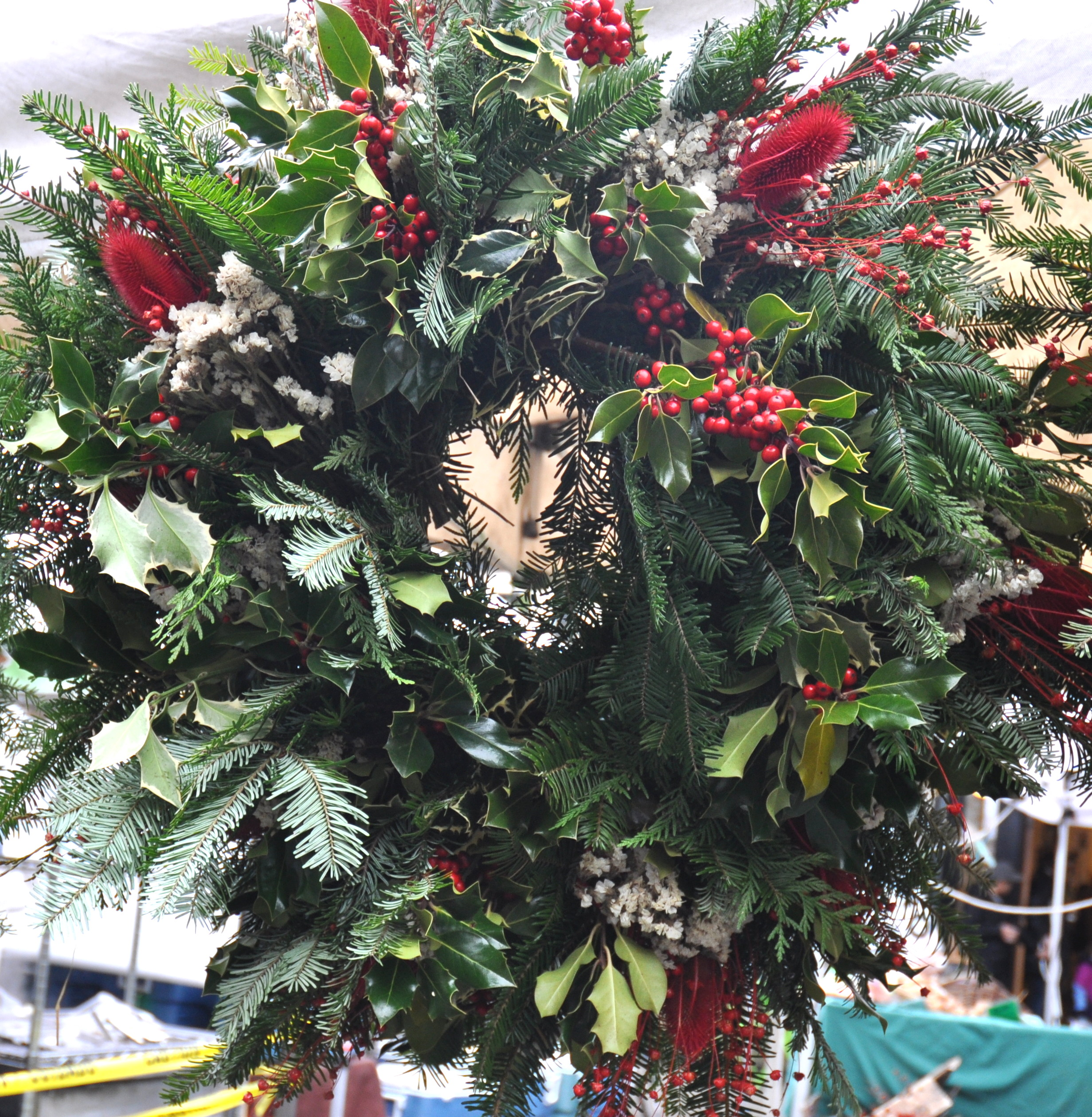 Holiday wreath from Children's Garden at Ballard Farmers Market. Copyright Zachary D. Lyons.