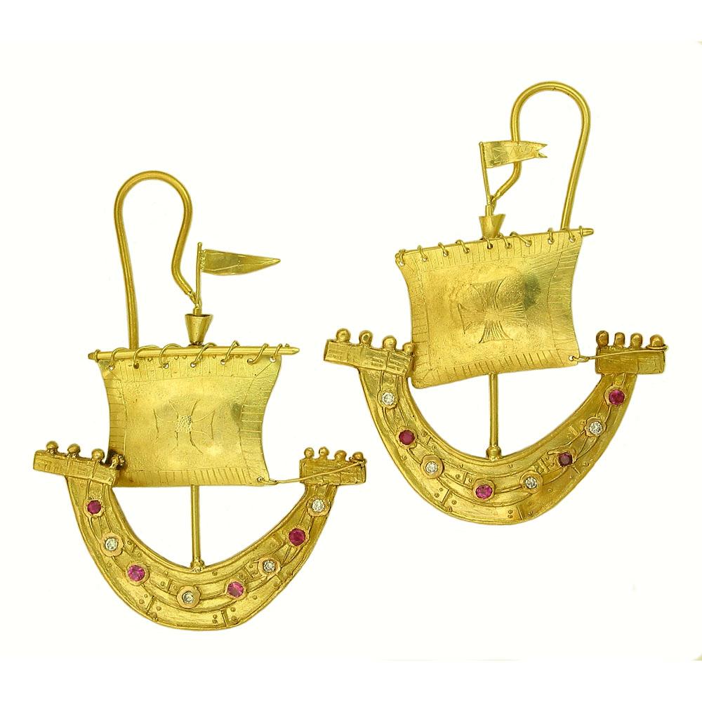 Sail boat earrings from Itali Lambertini. Photo courtesy Itali Lambertini.