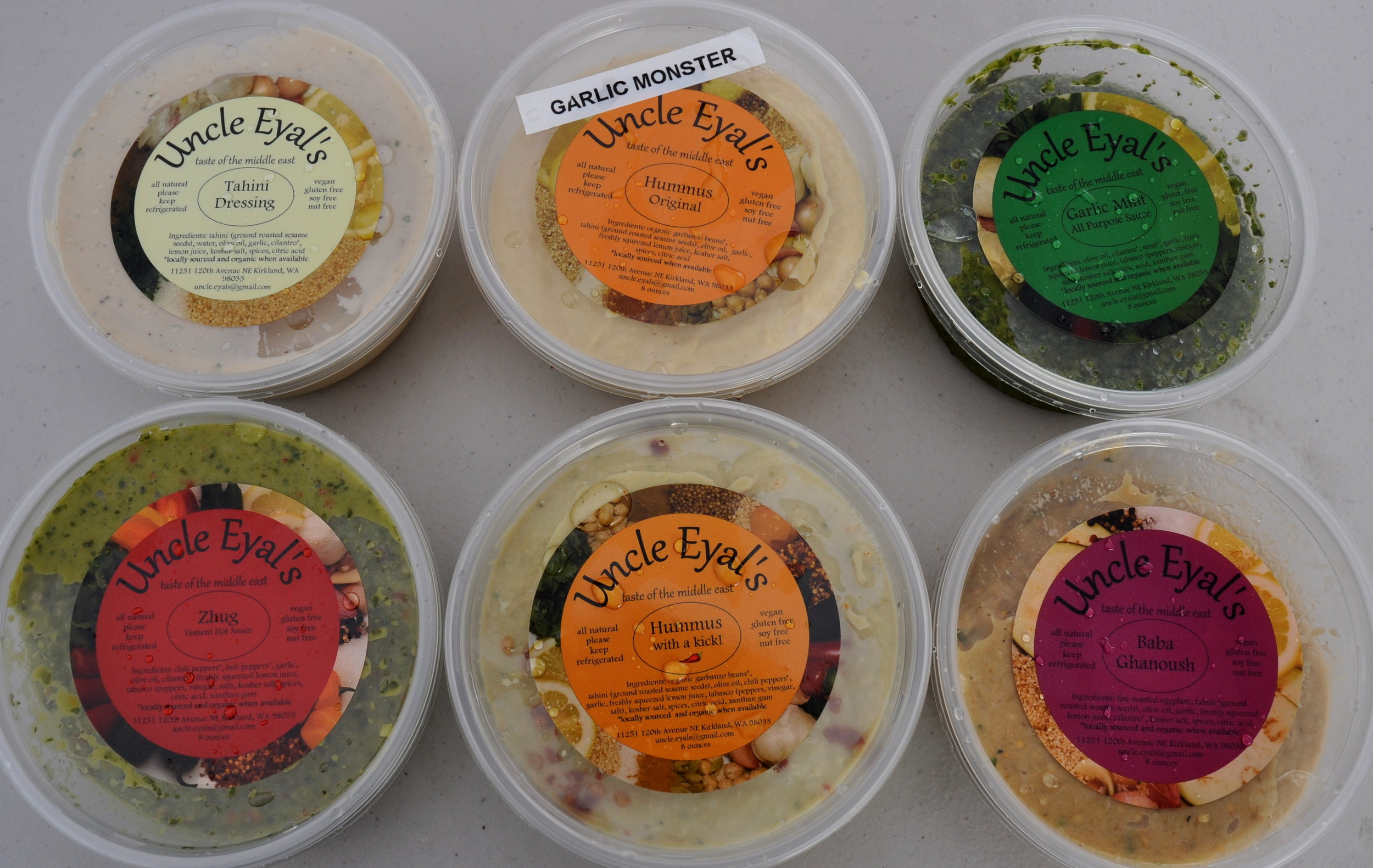 Mediterranean-style dips and sauces from Uncle Eyals. Photo copyright 2013 by Zachary D. Lyons.