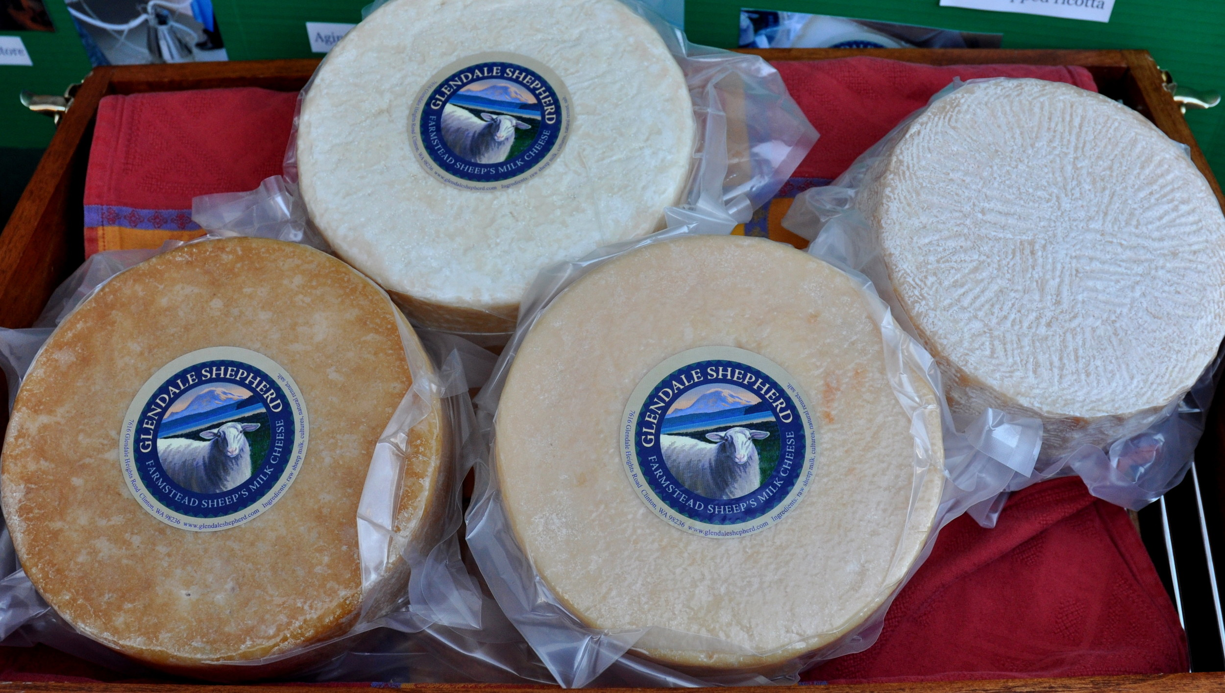 Aged sheep cheeses from Glendale Shepherd. Photo copyright 2014 by Zachary D. Lyons.