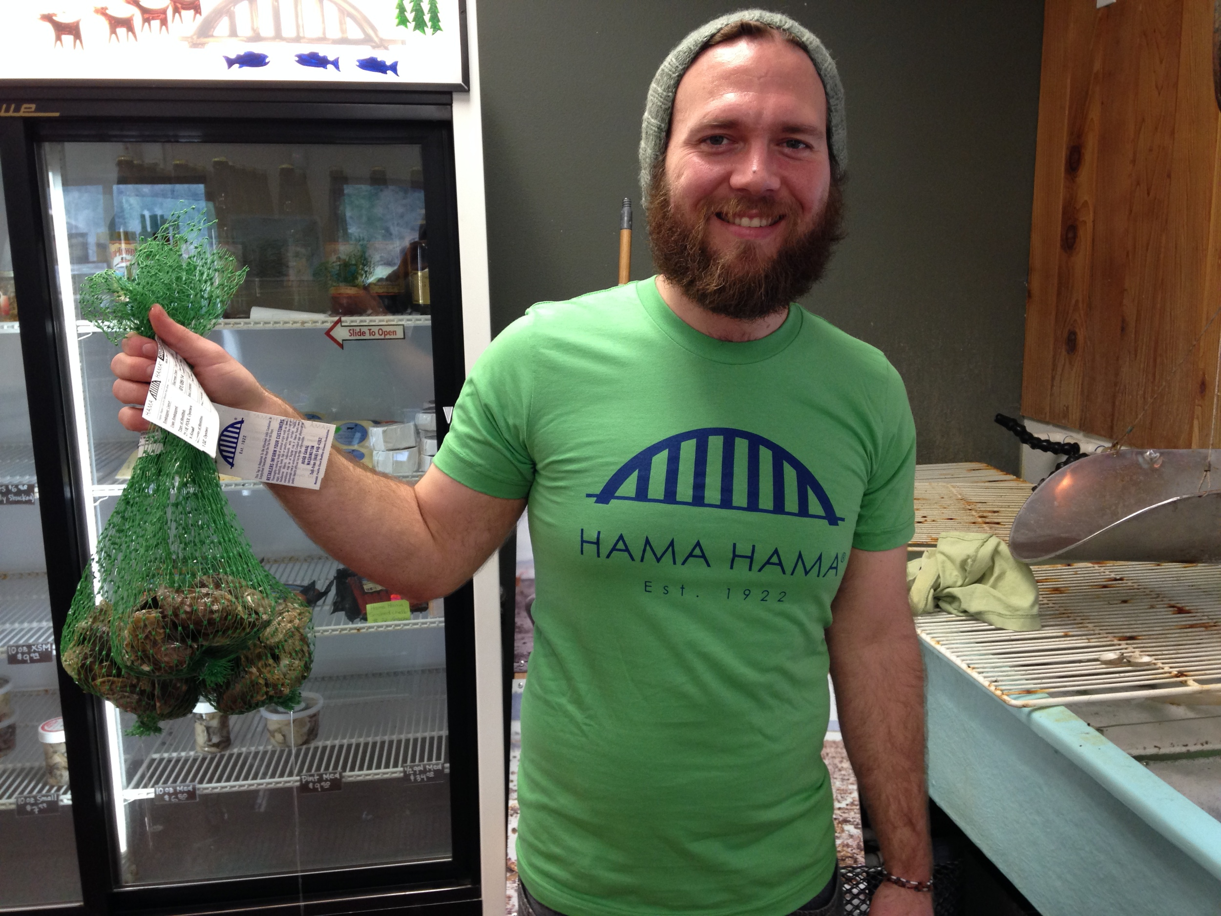 Sporting Seahawks colors at Hama Hama Oyster Company. Photo courtesy Hama Hama Oyster Company.
