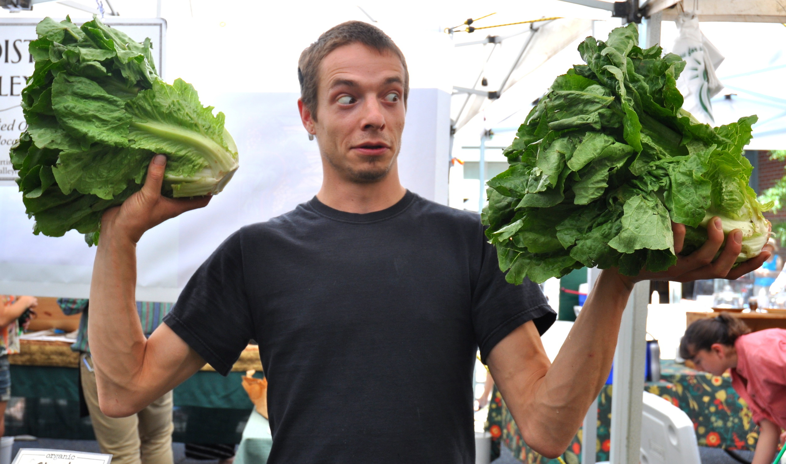 Eric displays huge heads of romaine lettuce from Boistfort Valley Farm at Ballard Farmers Market. Copyright Zachary D. Lyons.