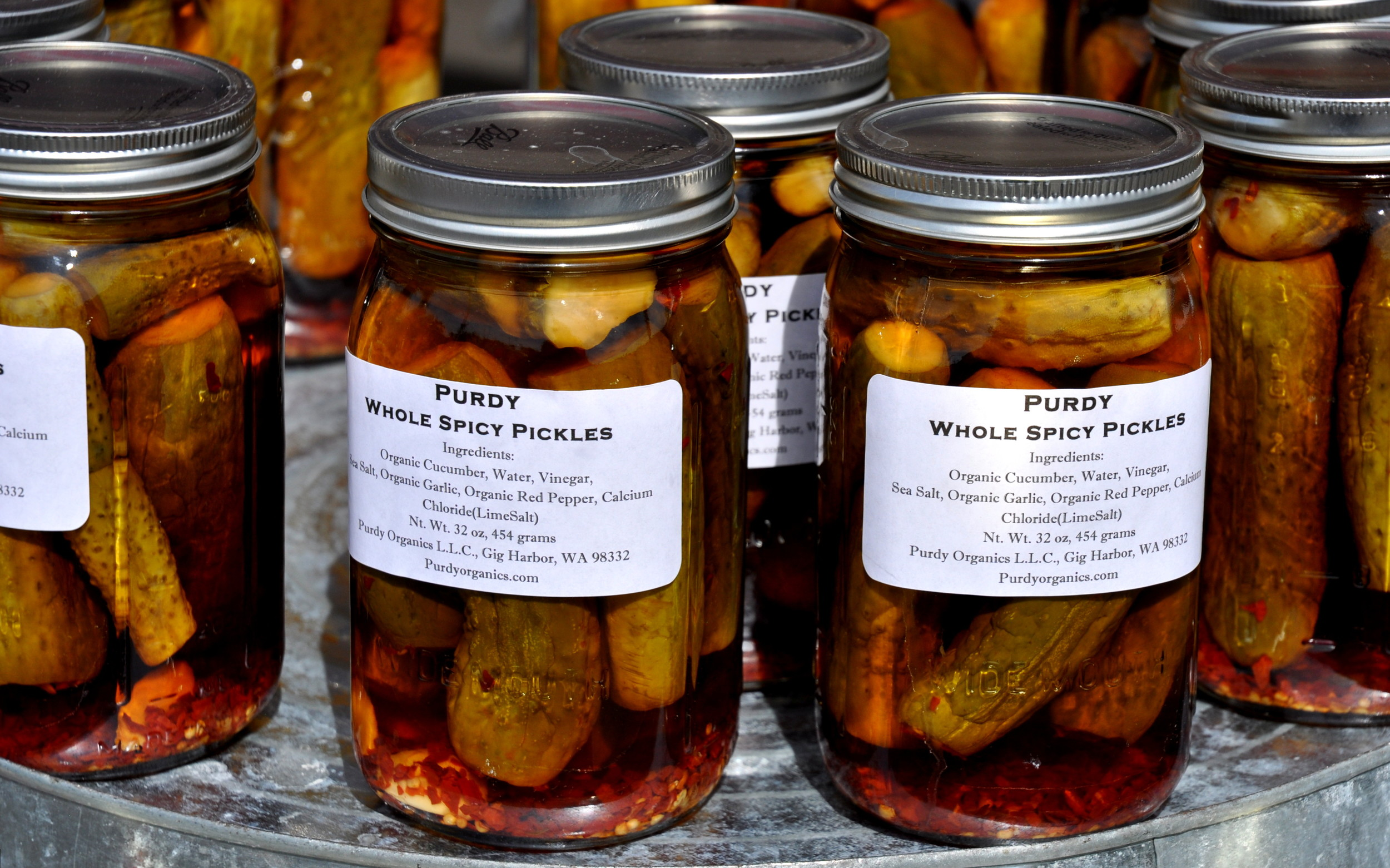 Spicy whole dill pickles from Purdy Pickle. Photo copyright 2014 by Zachary D. Lyons.