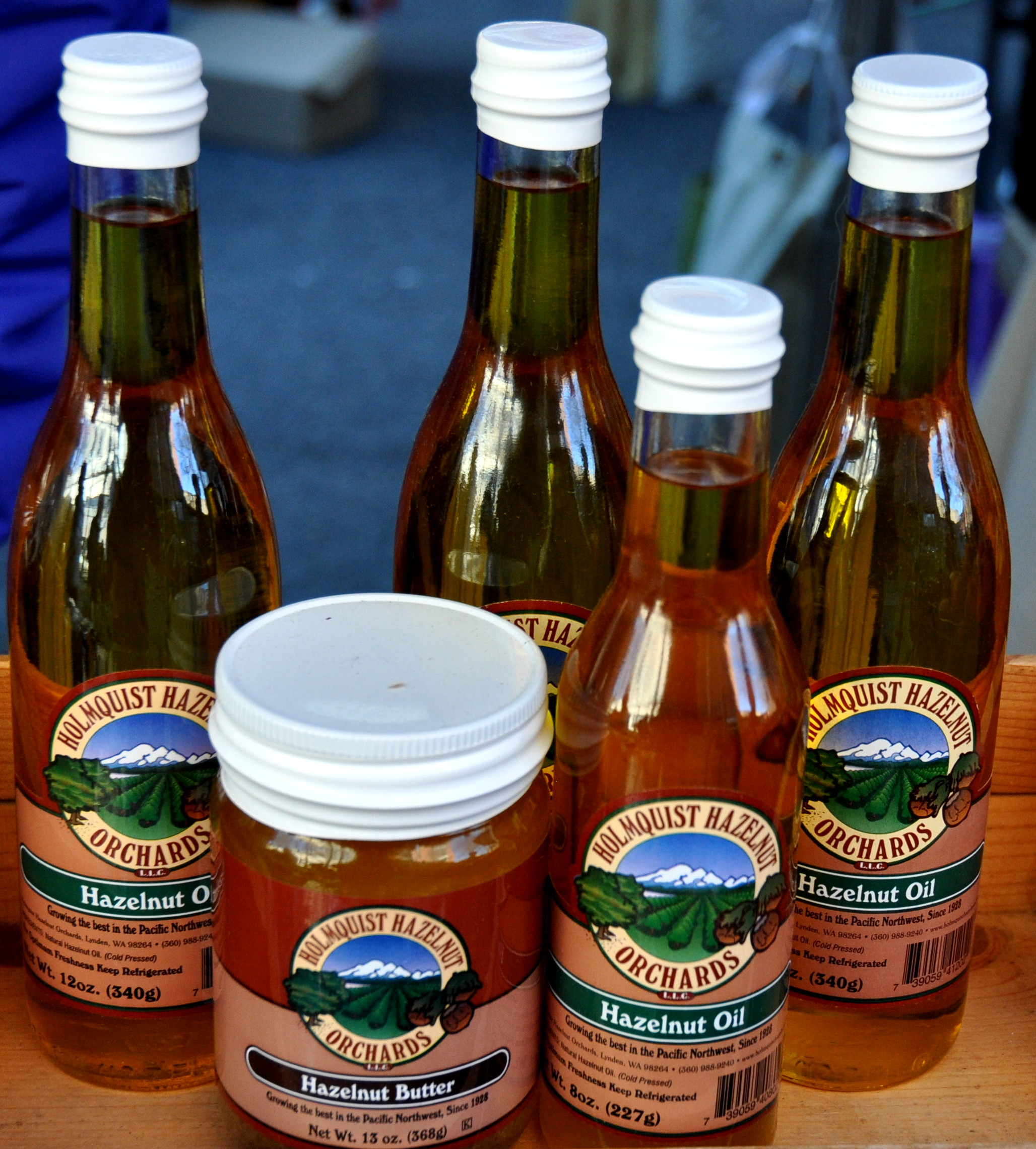 Hazelnut oil and butter from Holmquist Hazelnut Orchards at Ballard Farmers Market. Copyright Zachary D. Lyons.