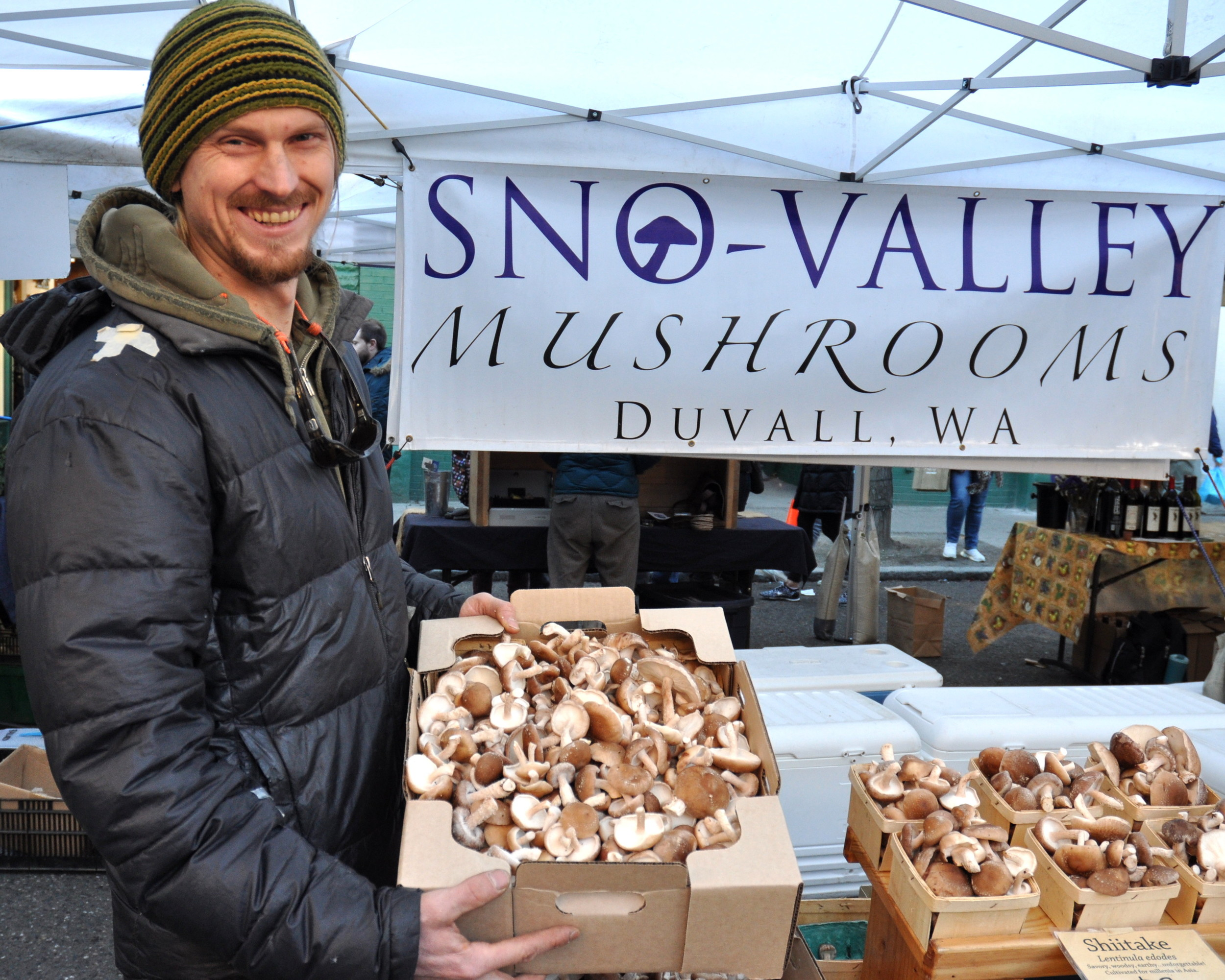 Sno-Valley Mushrooms' Rowan and shiitake mushrooms at Ballard Farmers Market. Copyright Zachary D. Lyons.