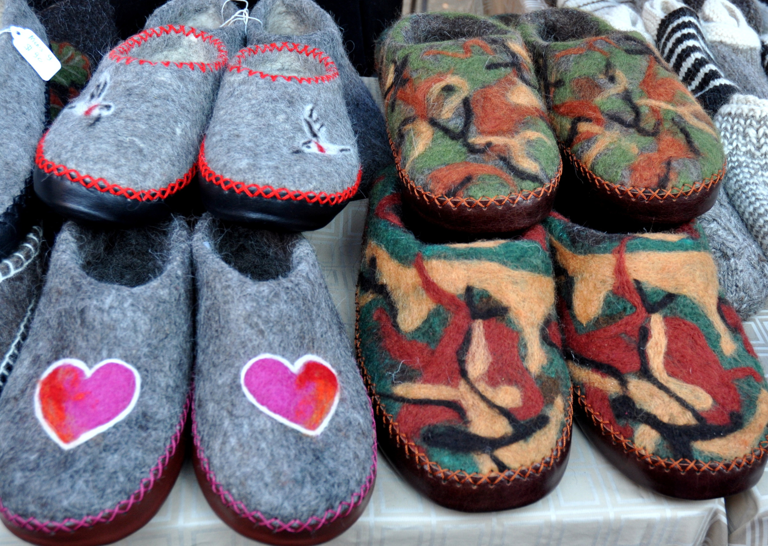 Felted wool slippers from Wonderful Wool at Ballard Farmers Market. Copyright Zachary D. Lyons.