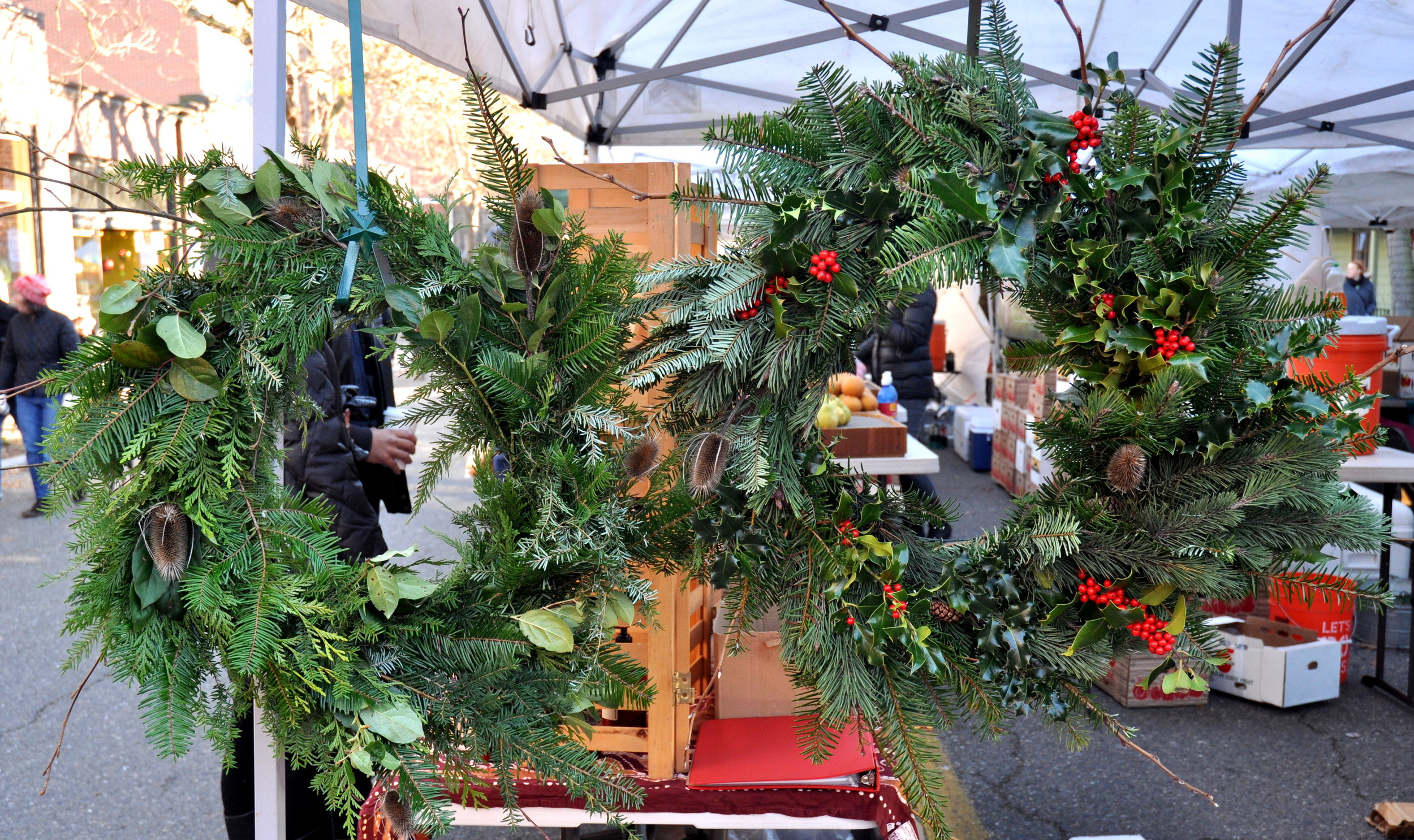 Fresh holiday wreaths from The Fay Farm at Ballard Farmers Market. Copyright Zachary D. Lyons.
