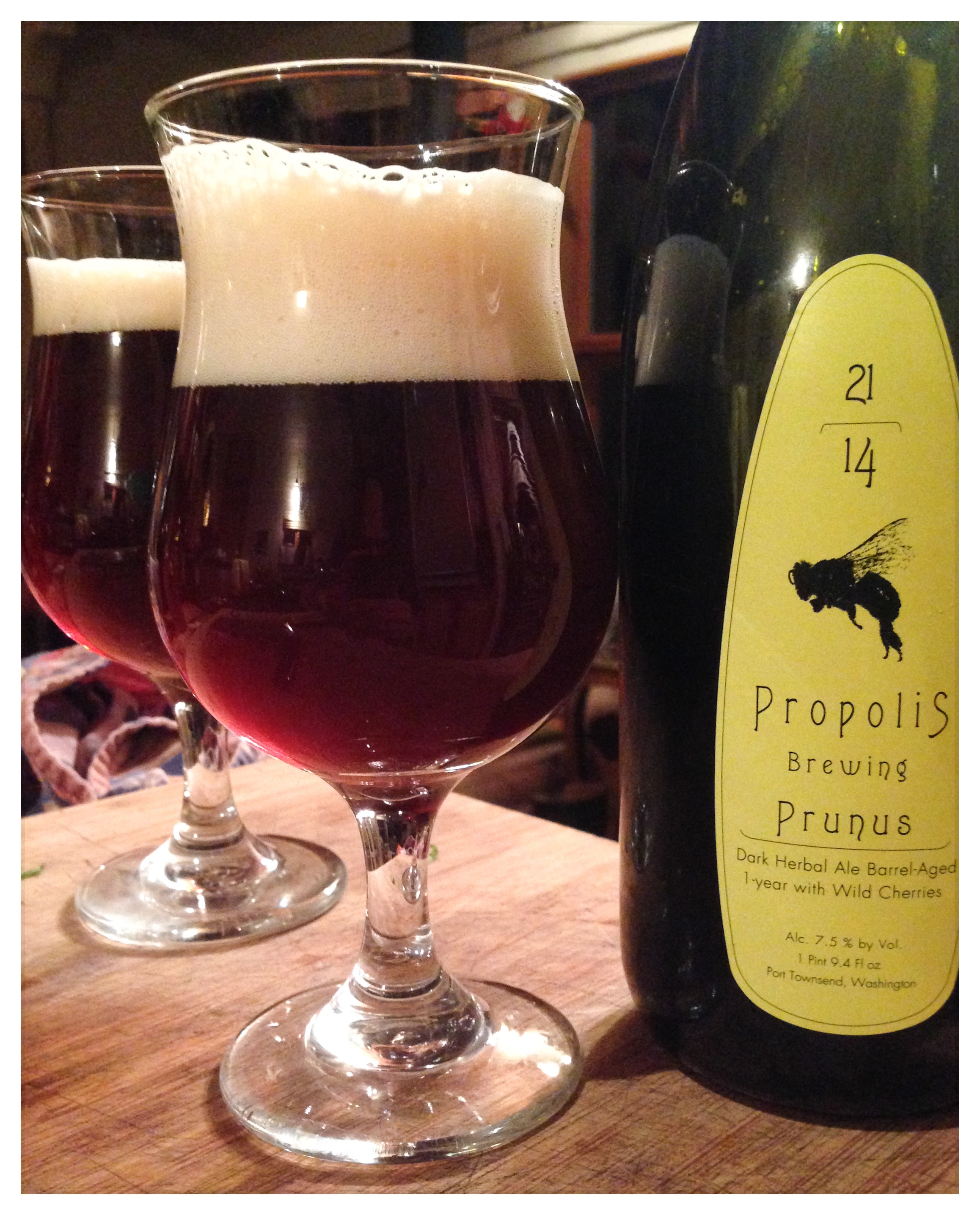 Prunus ale from Propolis Brewing at Ballard Farmers Market. Courtesy Propolis Brewing.