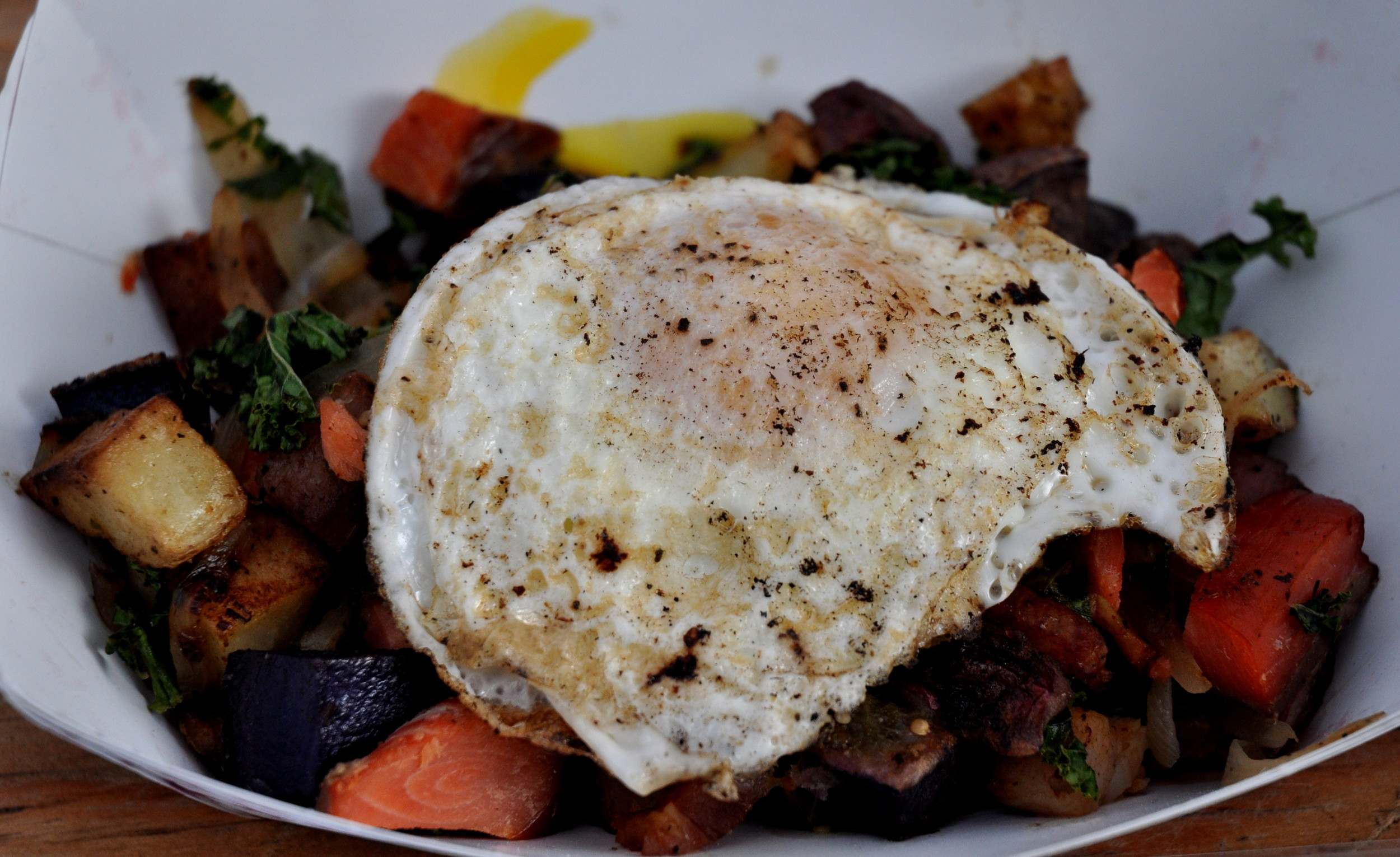 The Loki Special breakfast hash from Loki Fish at Ballard Farmers Market. Copyright Zachary D. Lyons.