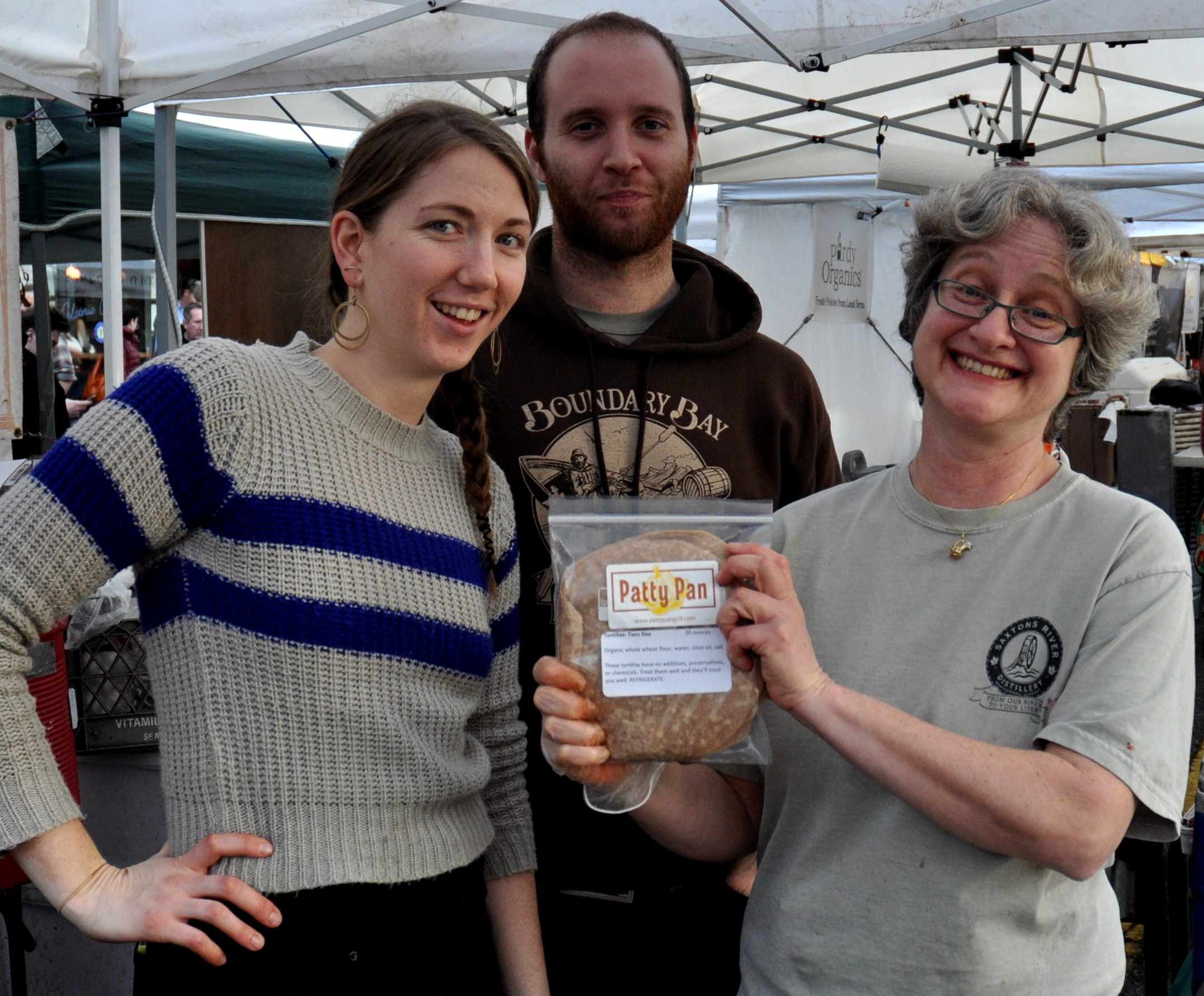 The Patty Pan Grill crew, proud parents of new tortillas at Ballard Farmers Market. Copyright Zachary D. Lyons.